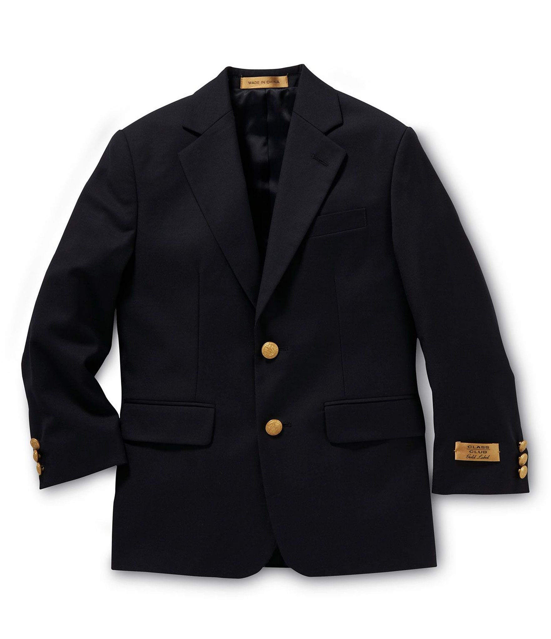 Mens Navy Blazer. Look sharp for the office or an evening out in a men's navy blazer. The crisp look comes from more than just a notched lapel. The clean line extends down to the tailored fit of a two-button blazer. Bring three-buttons to the wrist for a refined cuff. Employ a sleek pocket at the chest and flap pocket at the side.