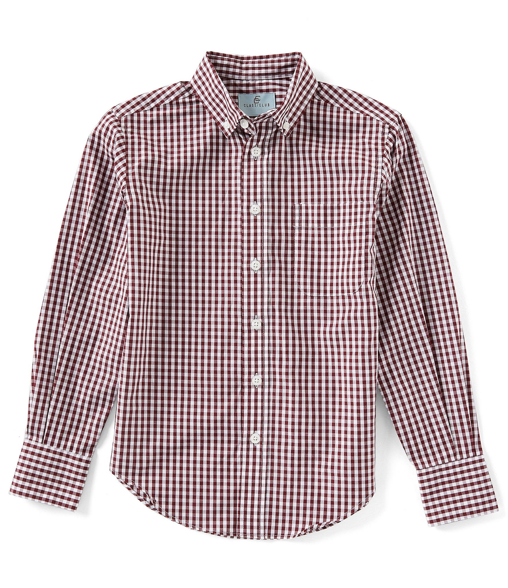 Sizing Chart With Common Left Chest Heart And Pocket: Class Club Little Boys 2T-7 Long-Sleeve Gingham Button