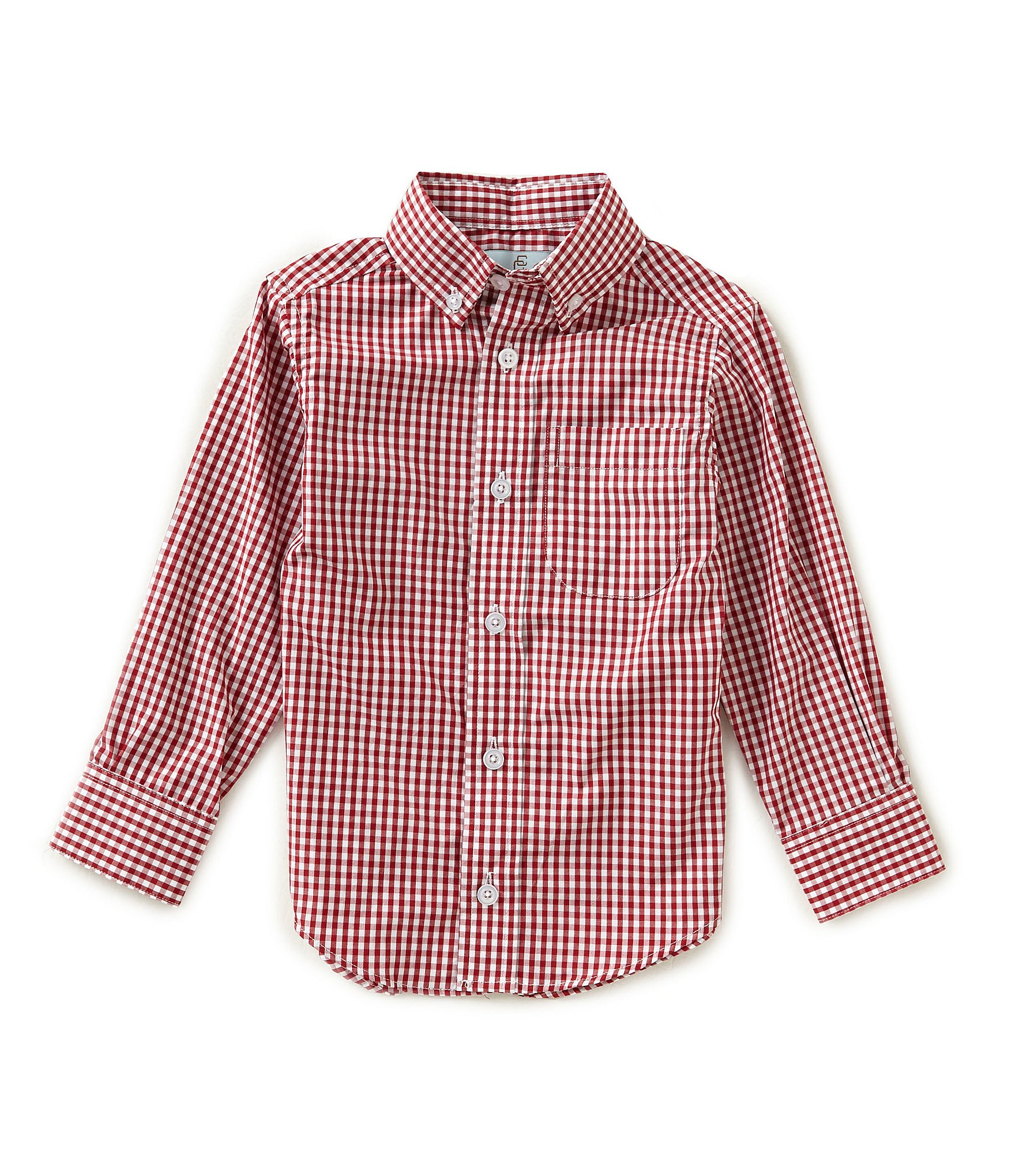 Class club little boys 2t 7 long sleeve gingham shirt for Red and white gingham shirt women s