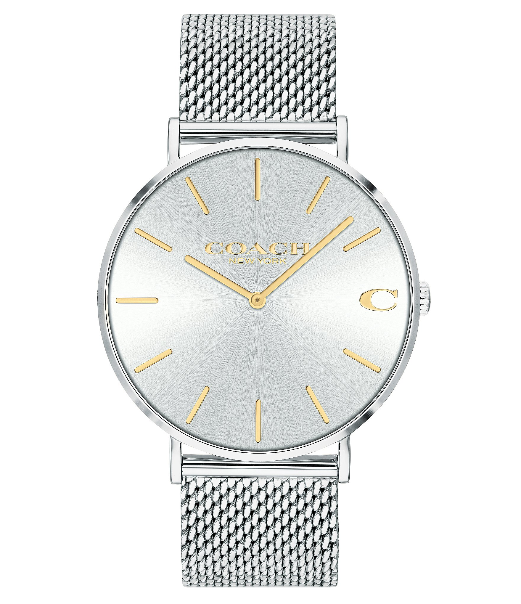 0c6a9d955bfe6 COACH Charles Men's Stainless Steel Silvertone Mesh Bracelet Watch