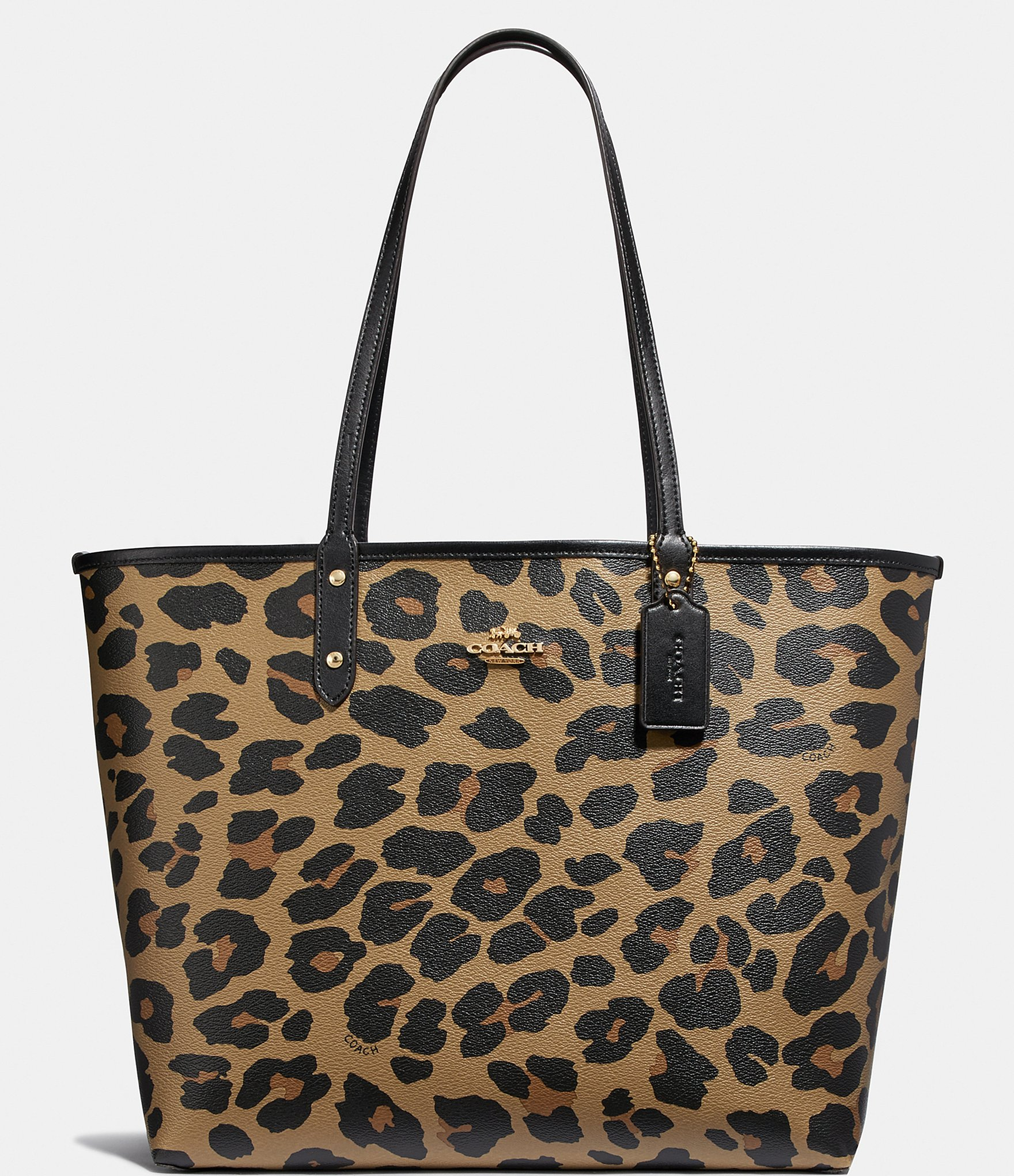 Coach Reversible Leopard Print City Tote Bag Dillard S