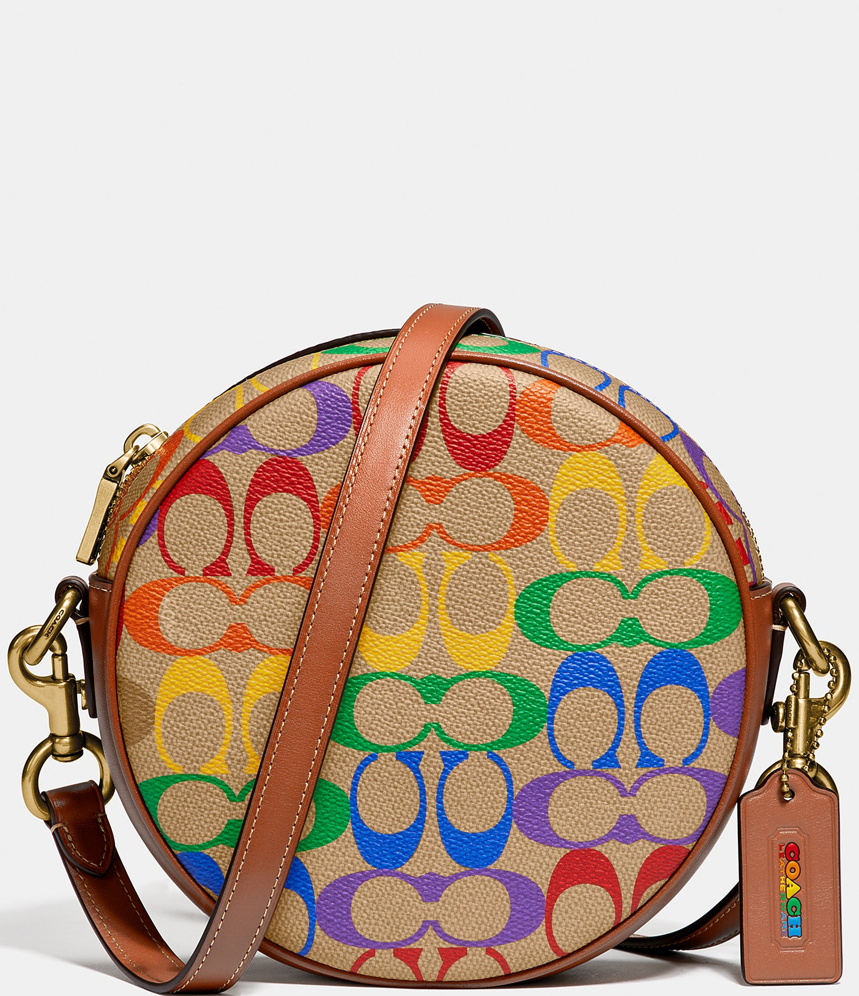 COACH Womens Fold-Over Chain Clutch Rainbow Rose Black Multi Flower Crossgrain Patent Leather B
