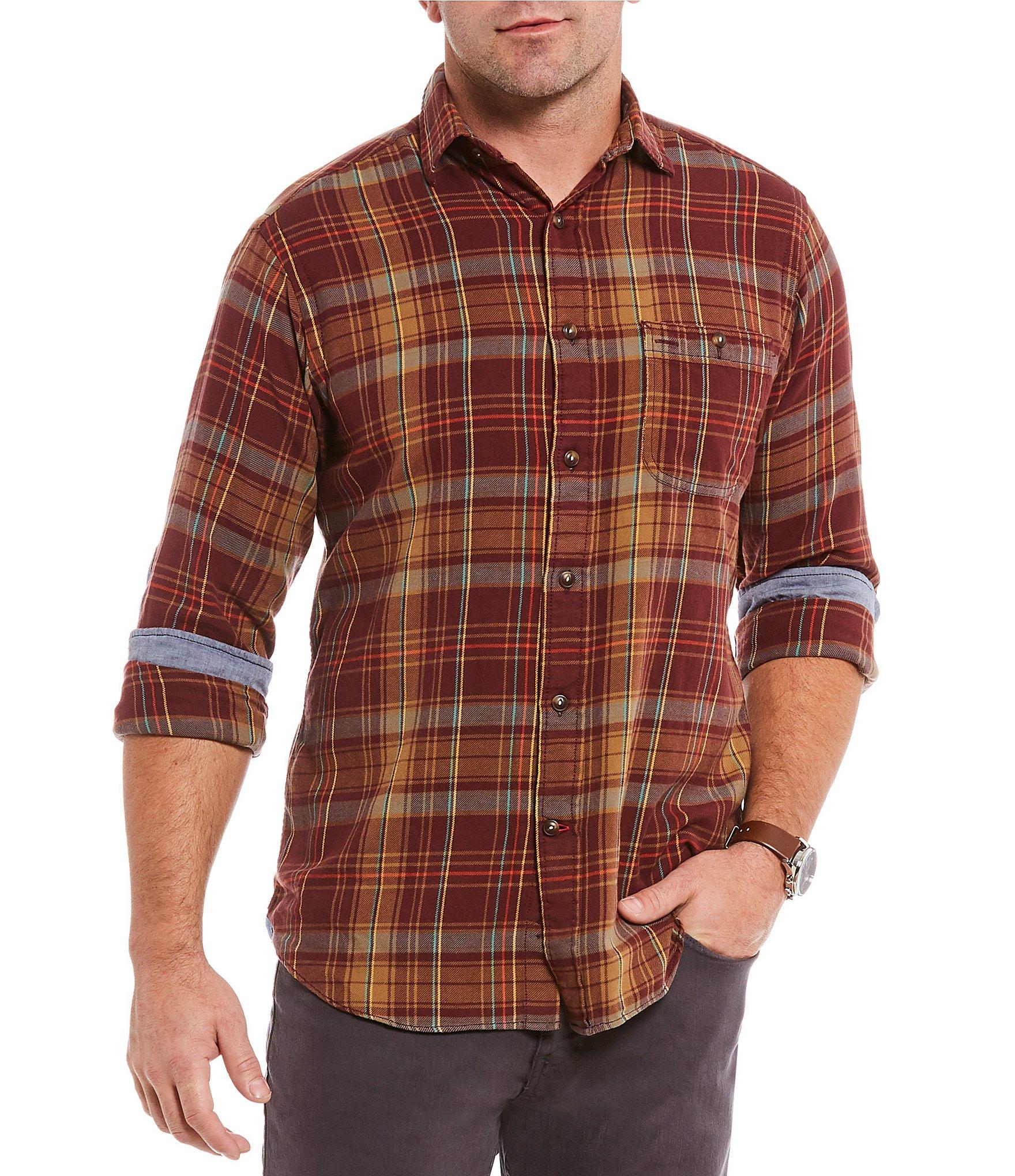 Cremieux big tall plaid long sleeve woven shirt dillards for Mens 4xlt flannel shirts