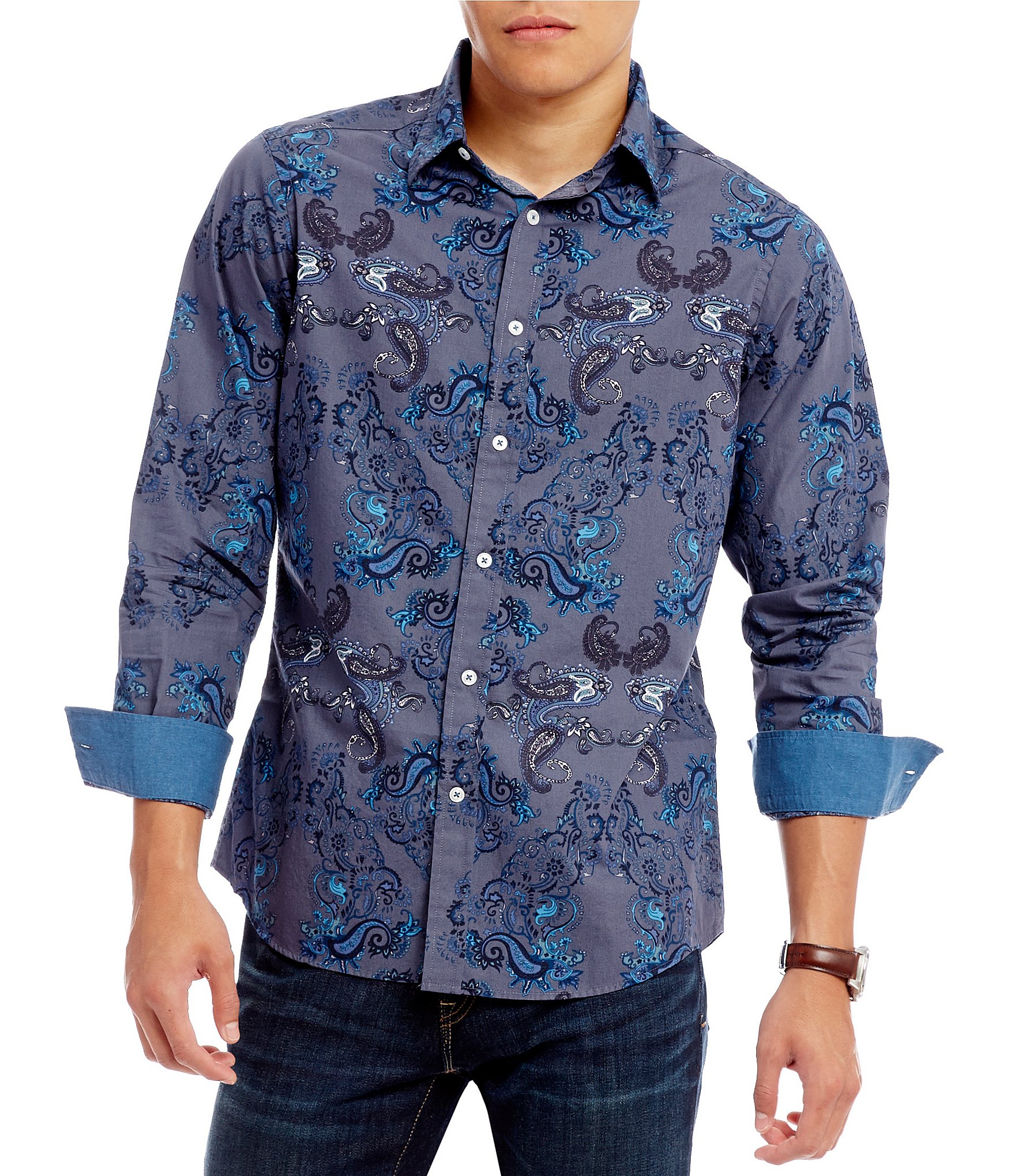 Cremieux jeans big and tall paisley long sleeve woven for Big and tall long sleeve shirts