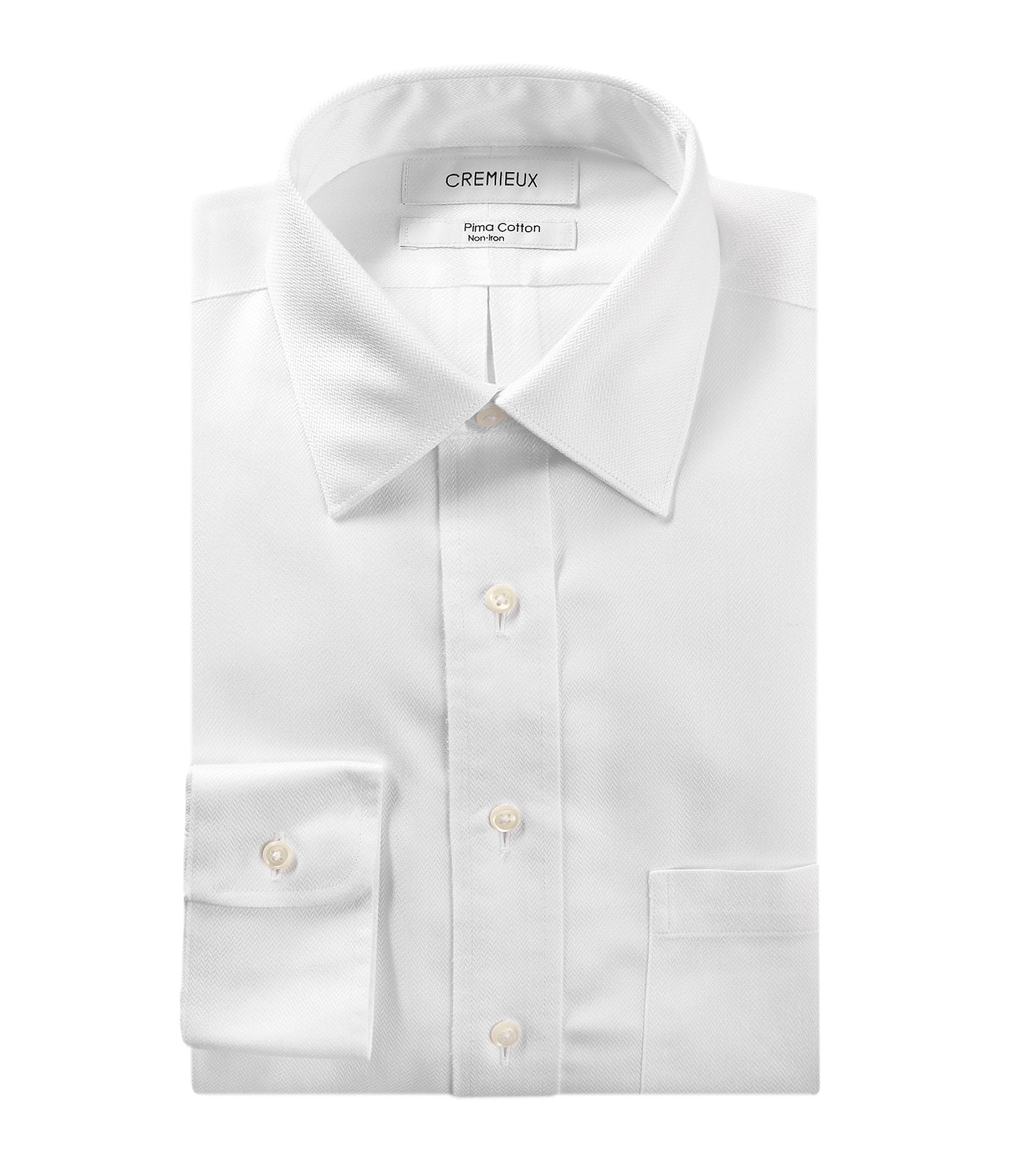 Cremieux non iron classic fit spread collar herringbone for What is a non iron shirt