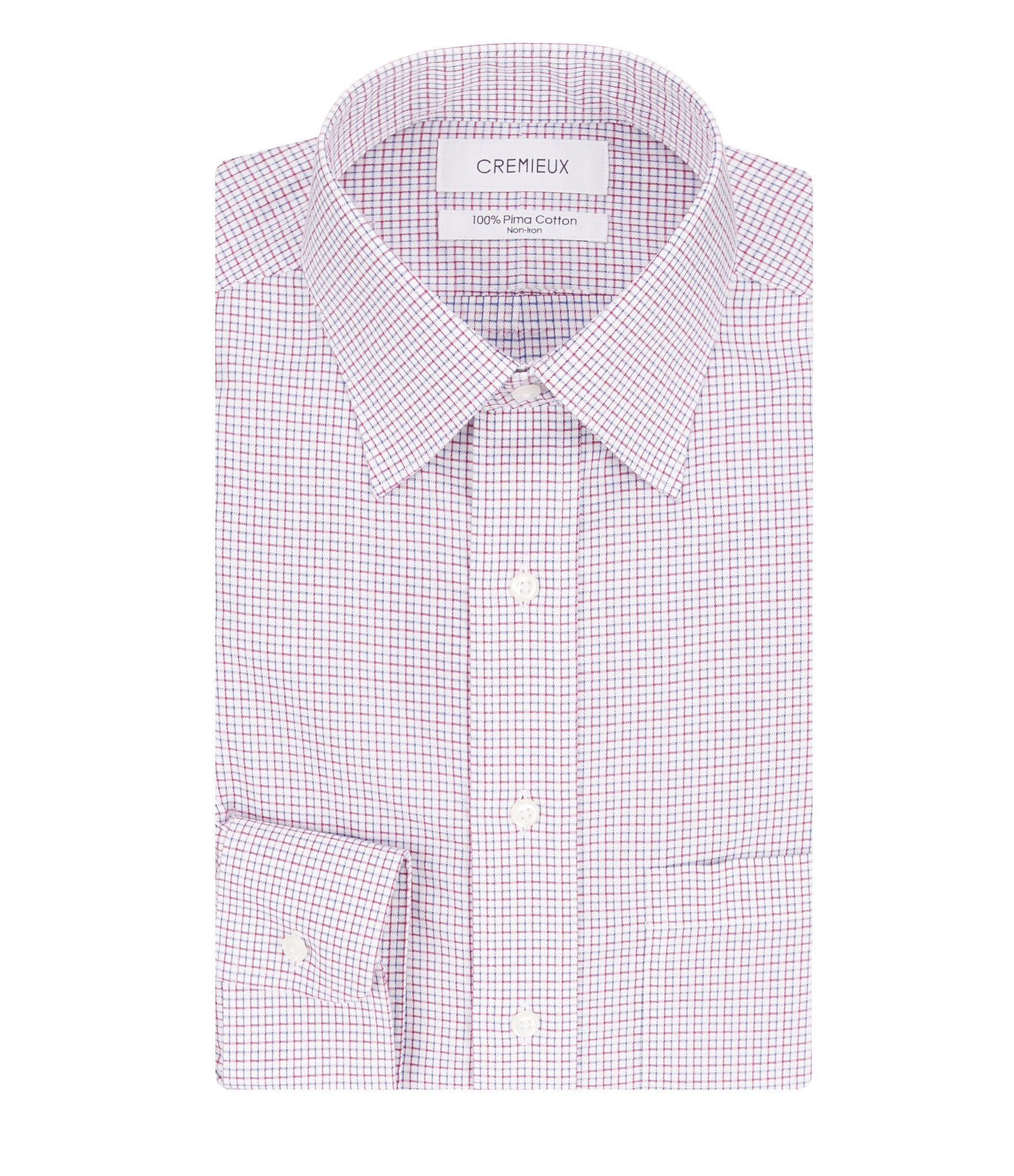 Cremieux non iron classic fit spread collar check dress for Dress shirt collar fit