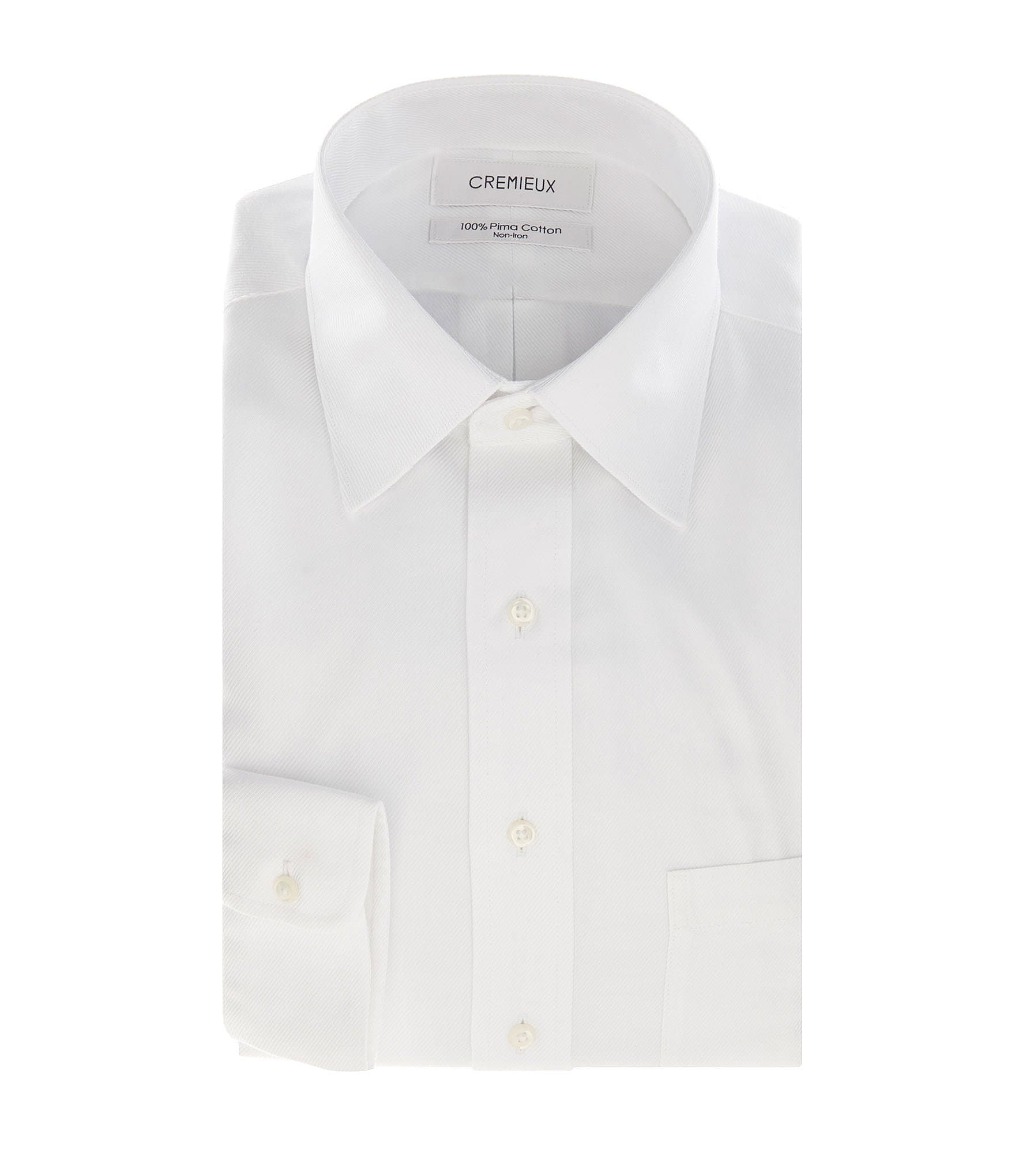 Cremieux Non Iron Fitted Classic Fit Spread Collar Long