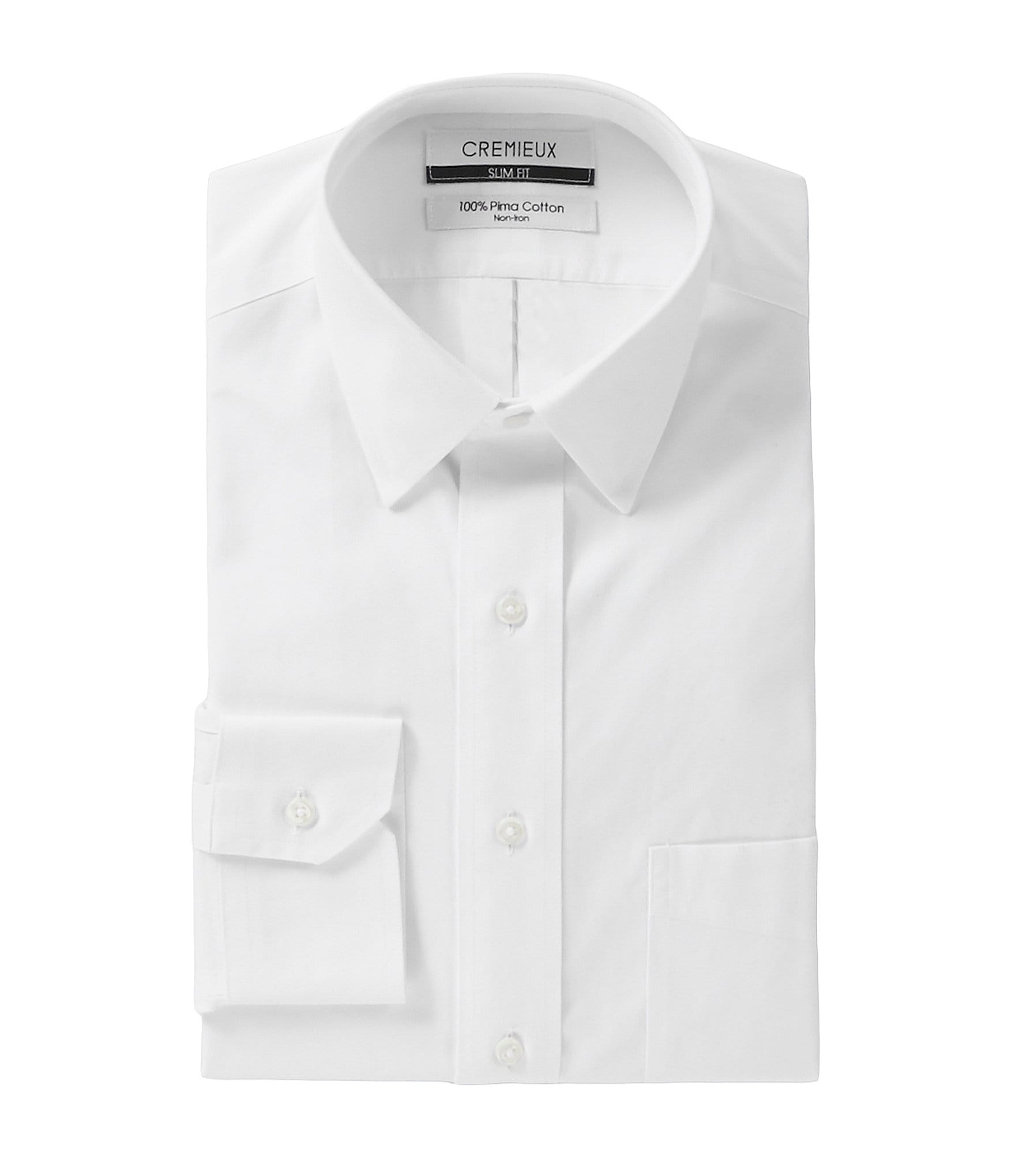 Cremieux non iron slim fit point collar solid dress shirt for Slim fit non iron dress shirts