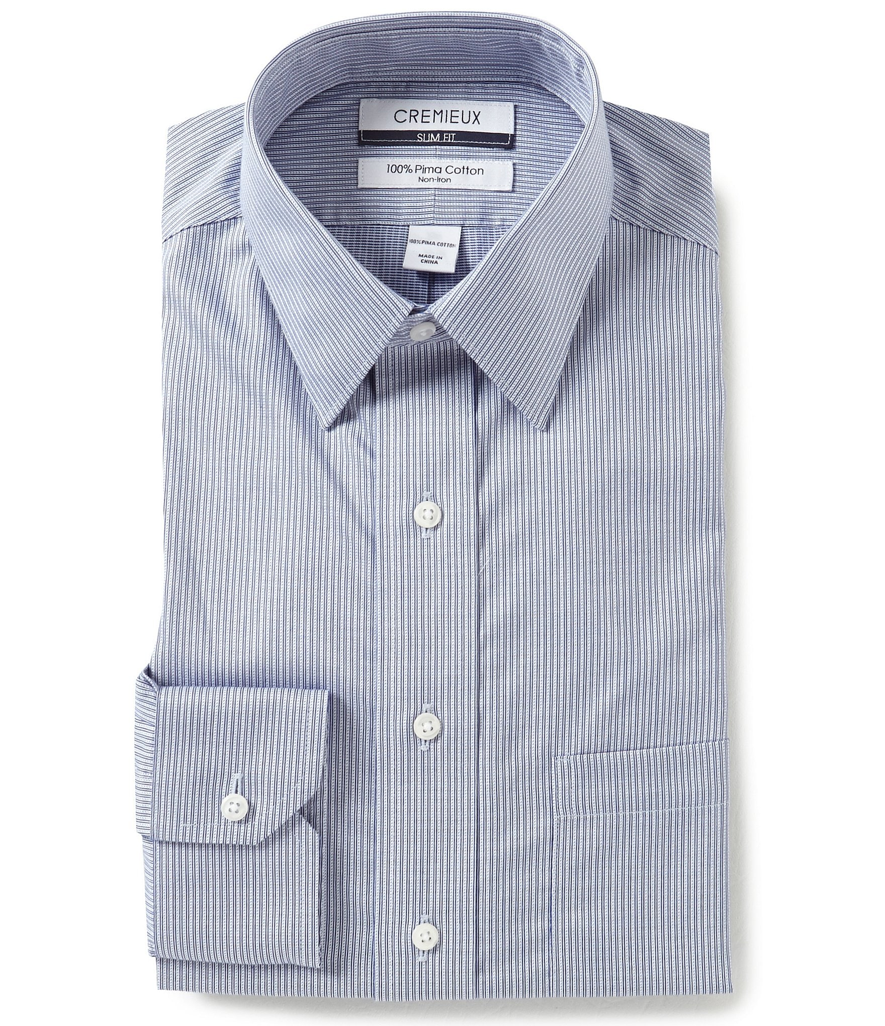 Cremieux non iron slim fit point collar tonal stripe dress for Dress shirt collar fit