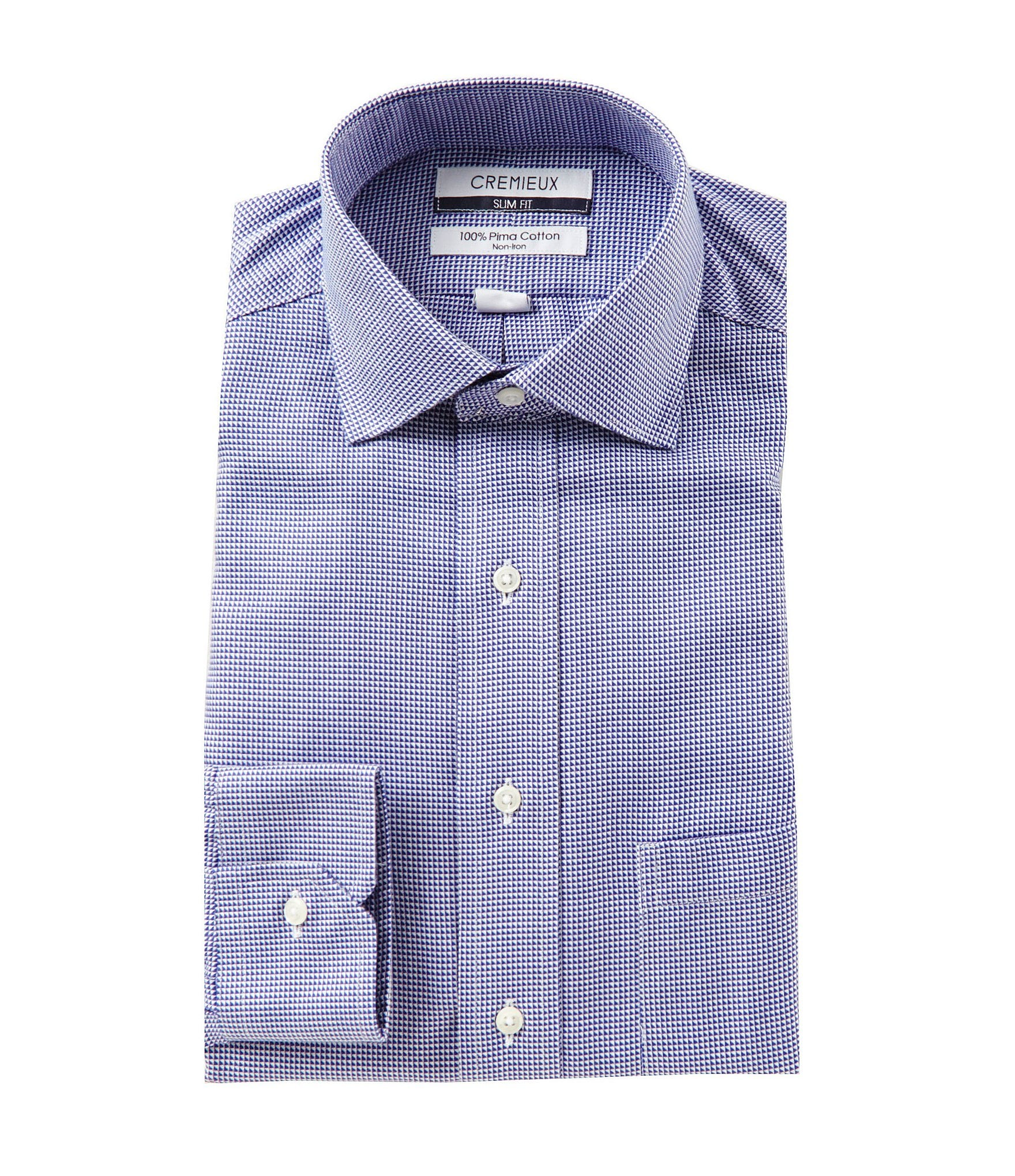 Cremieux non iron slim fit spread collar textured solid for Spread collar slim fit dress shirts