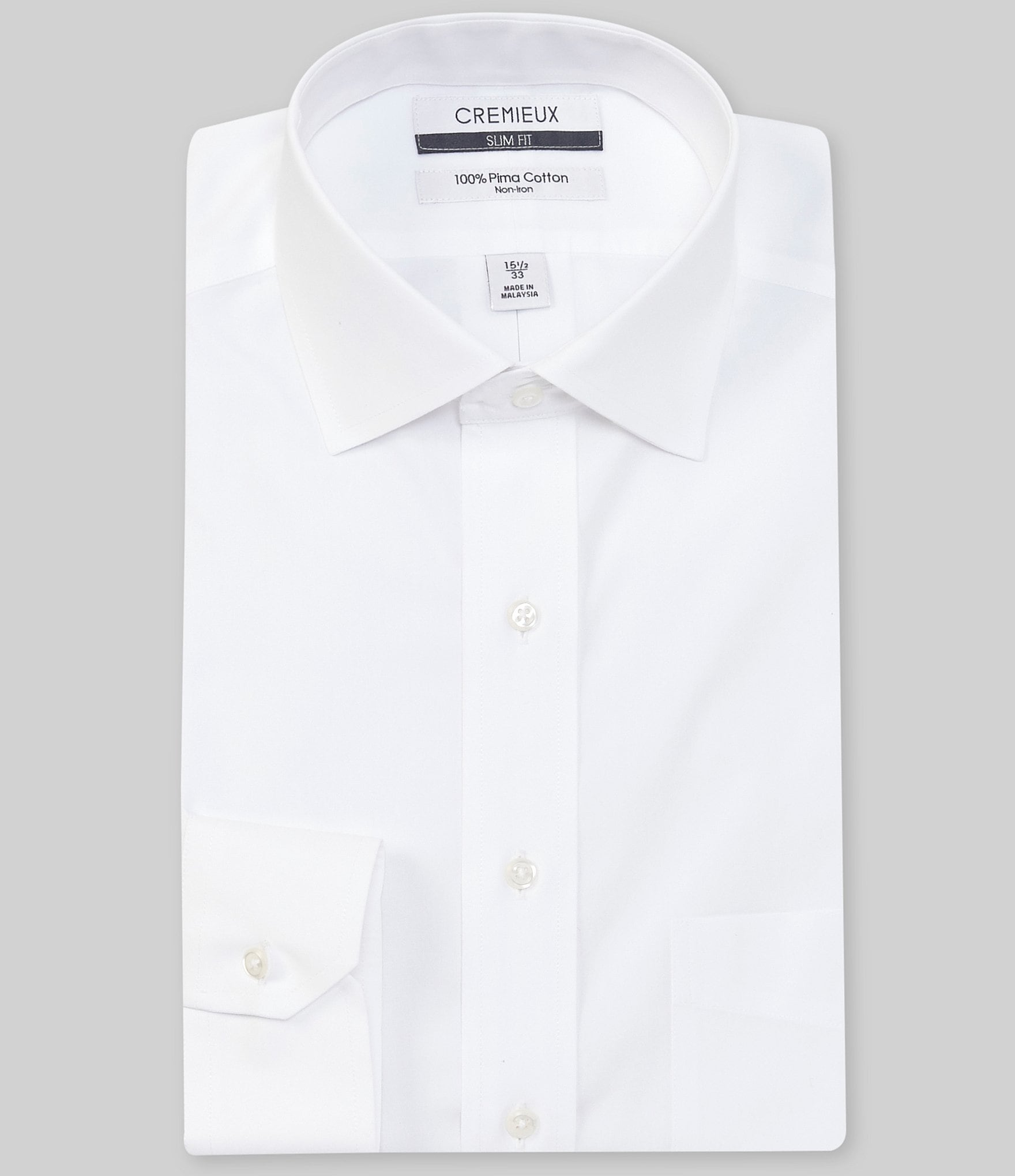 Cremieux non iron slim fit spread collar solid dress shirt for Athletic fit dress shirts