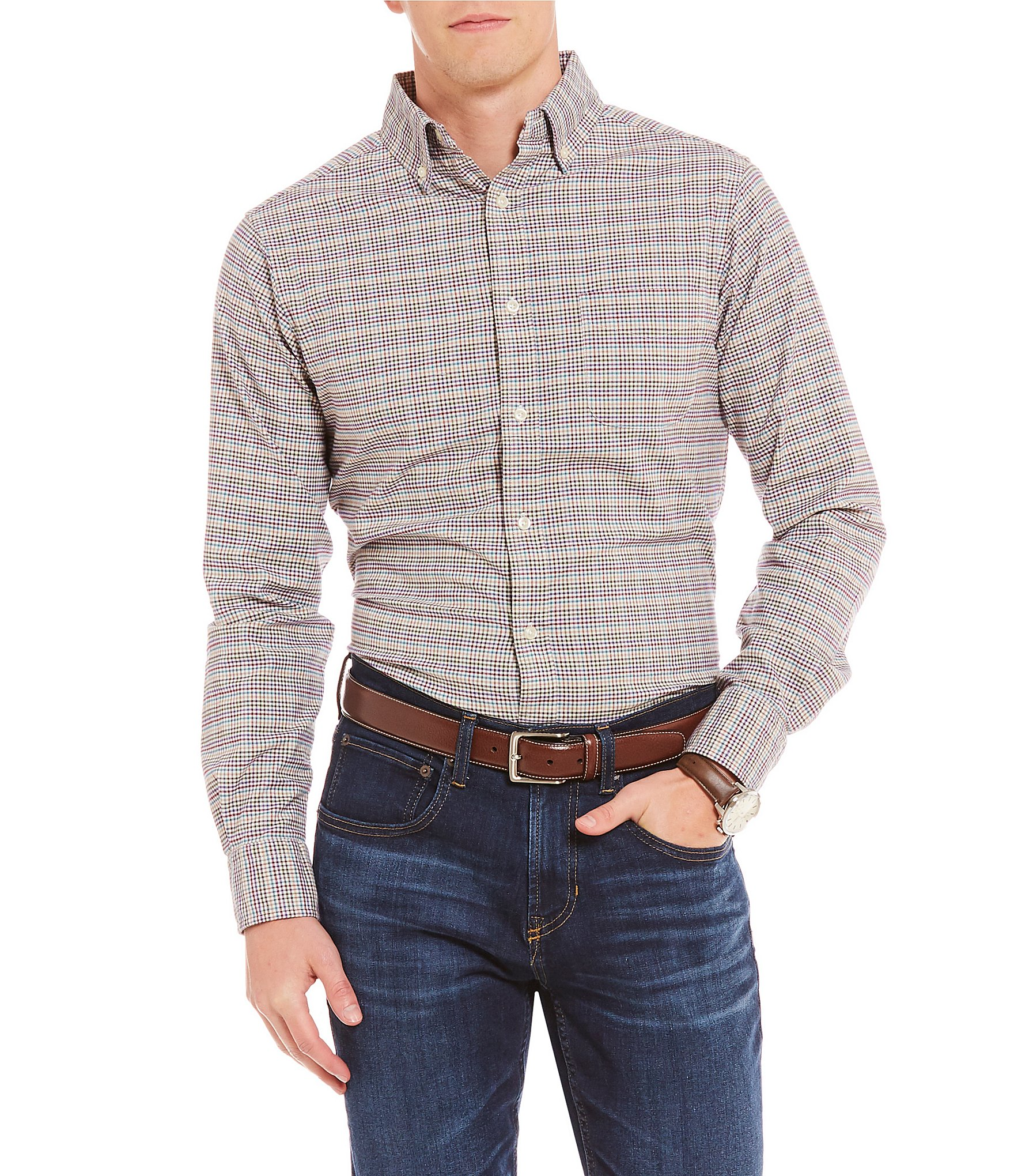 Cremieux slim fit check oxford long sleeve woven shirt for Men oxford slim fit long sleeve shirt