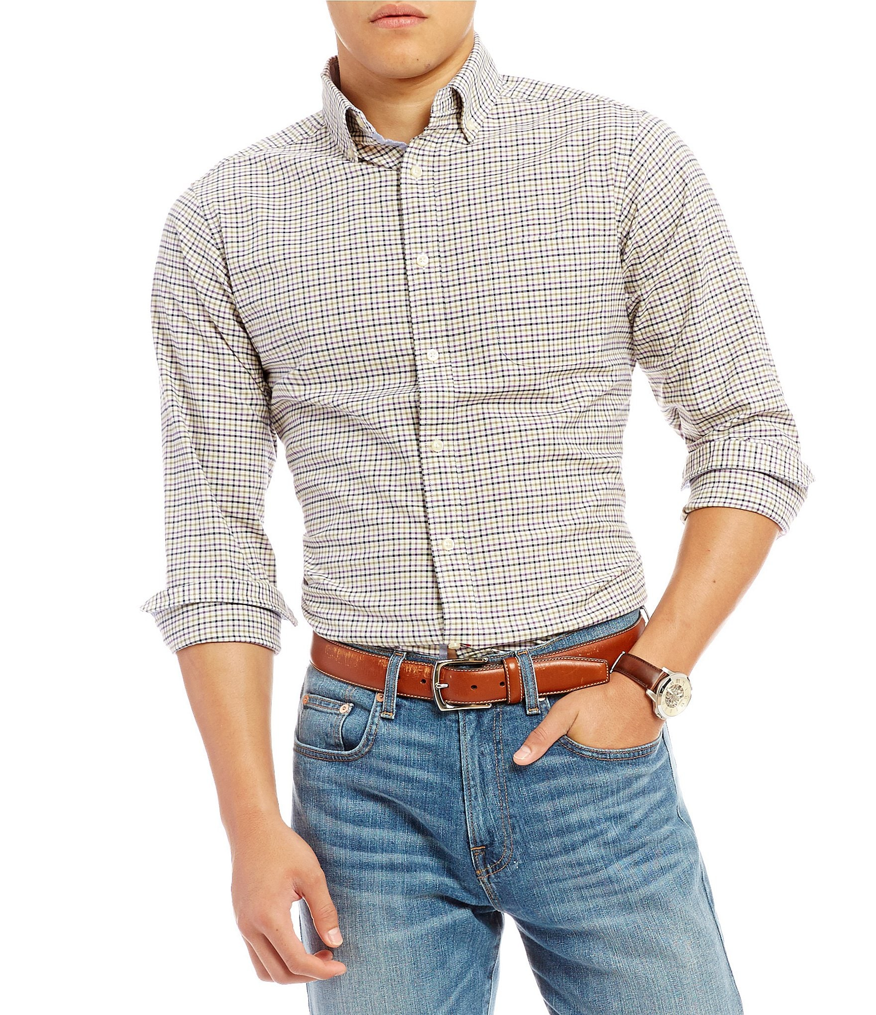 Cremieux slim fit graph stretch oxford long sleeve woven for Men oxford slim fit long sleeve shirt