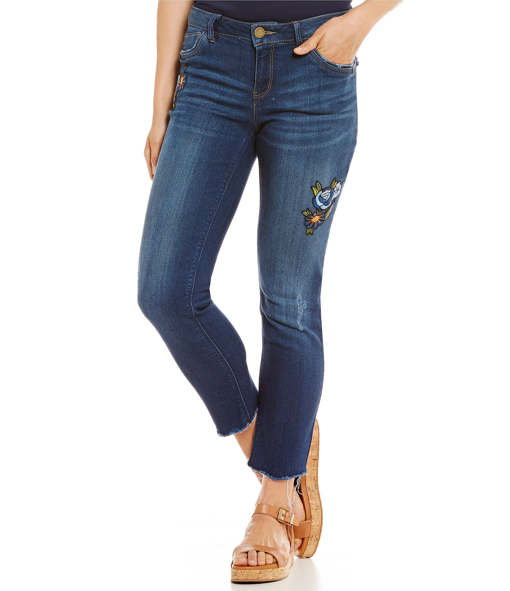 Democracy floral embroidered straight leg ankle jeans