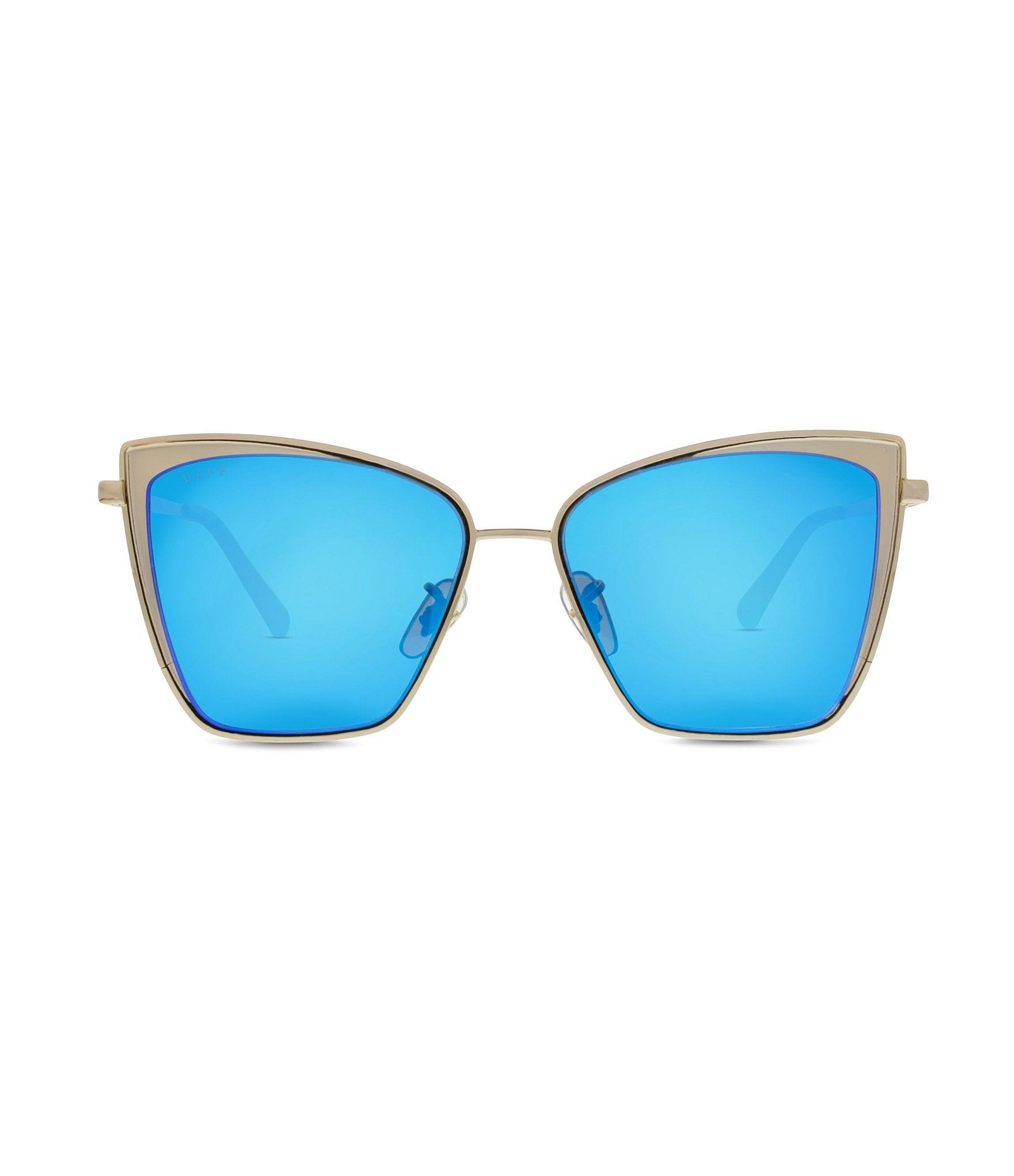 Diff Eyewear Becky Polarized Mirrored Cat Eye Sunglasses