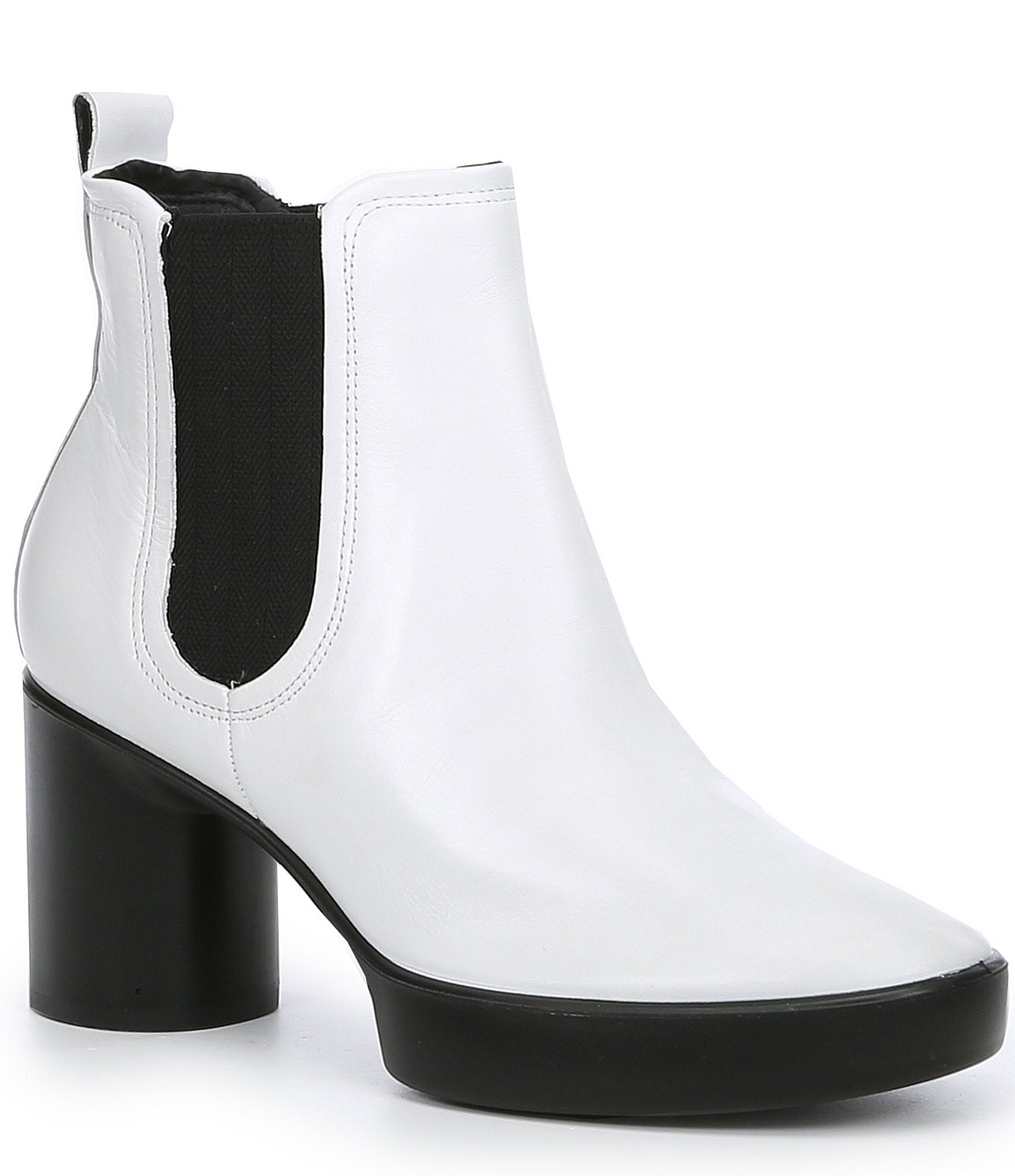 Shape Sculpted Motion 55 Chelsea Leather Block Heel Ankle Boots by Ecco
