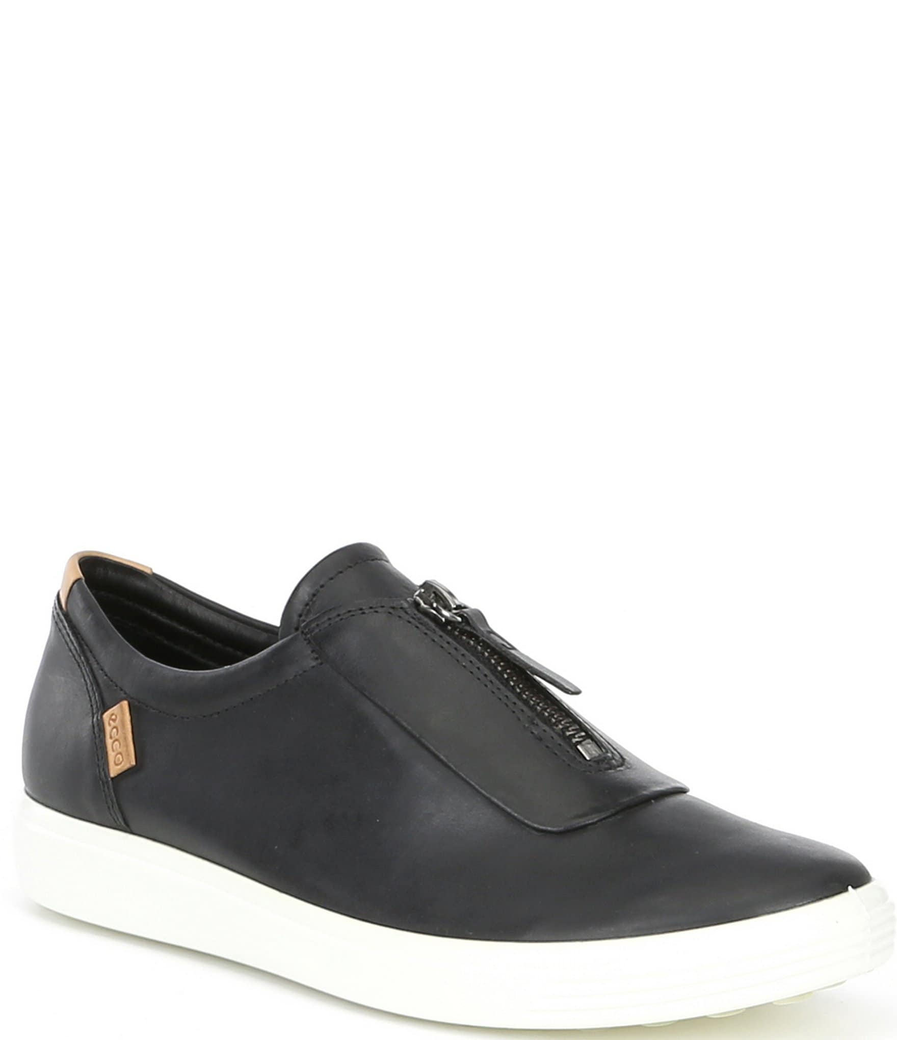 ECCO Soft 7 Leather Front Zip Sneakers