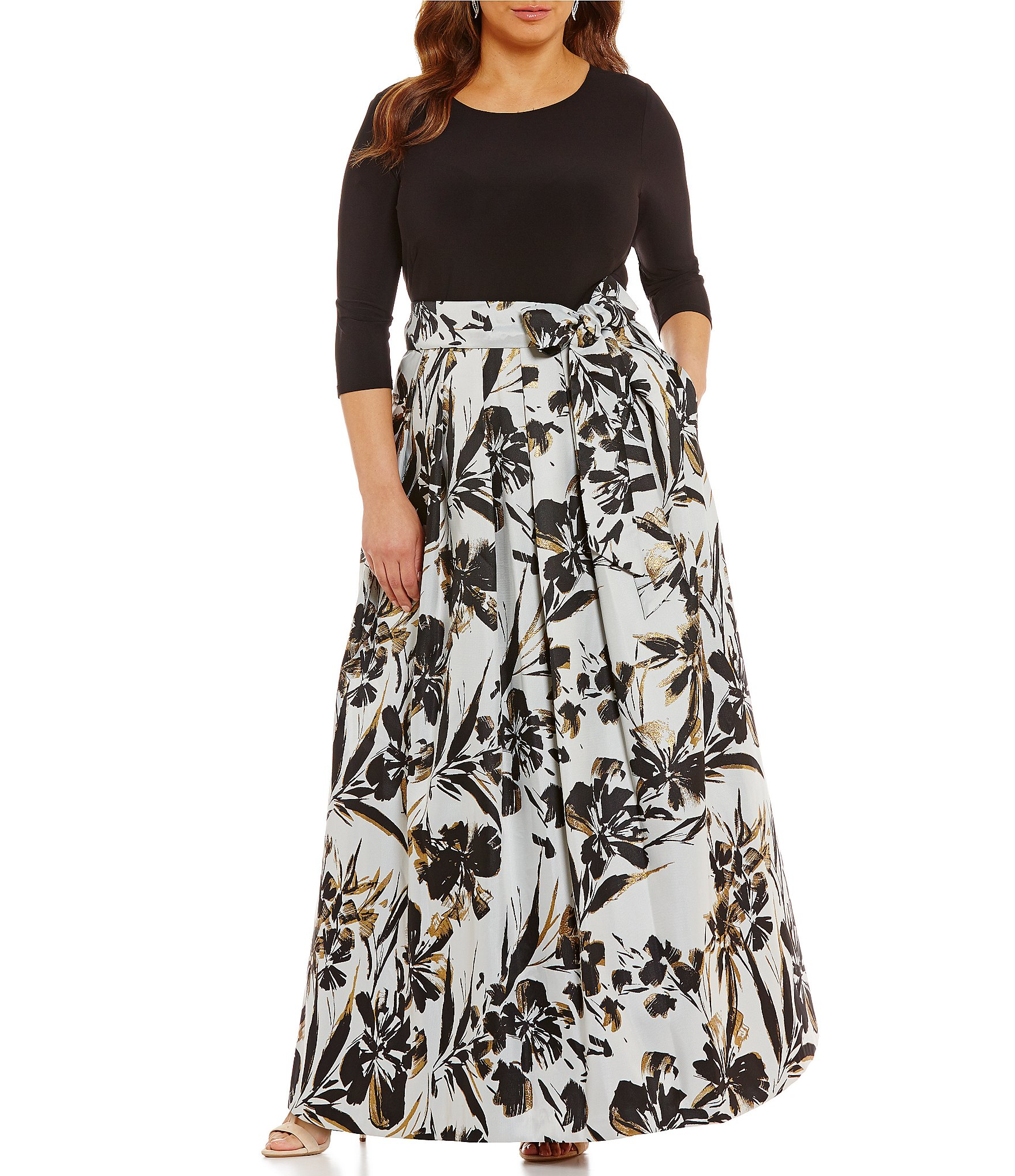 Eliza j plus printed ballgown dillards for Dillards plus size wedding guest dresses