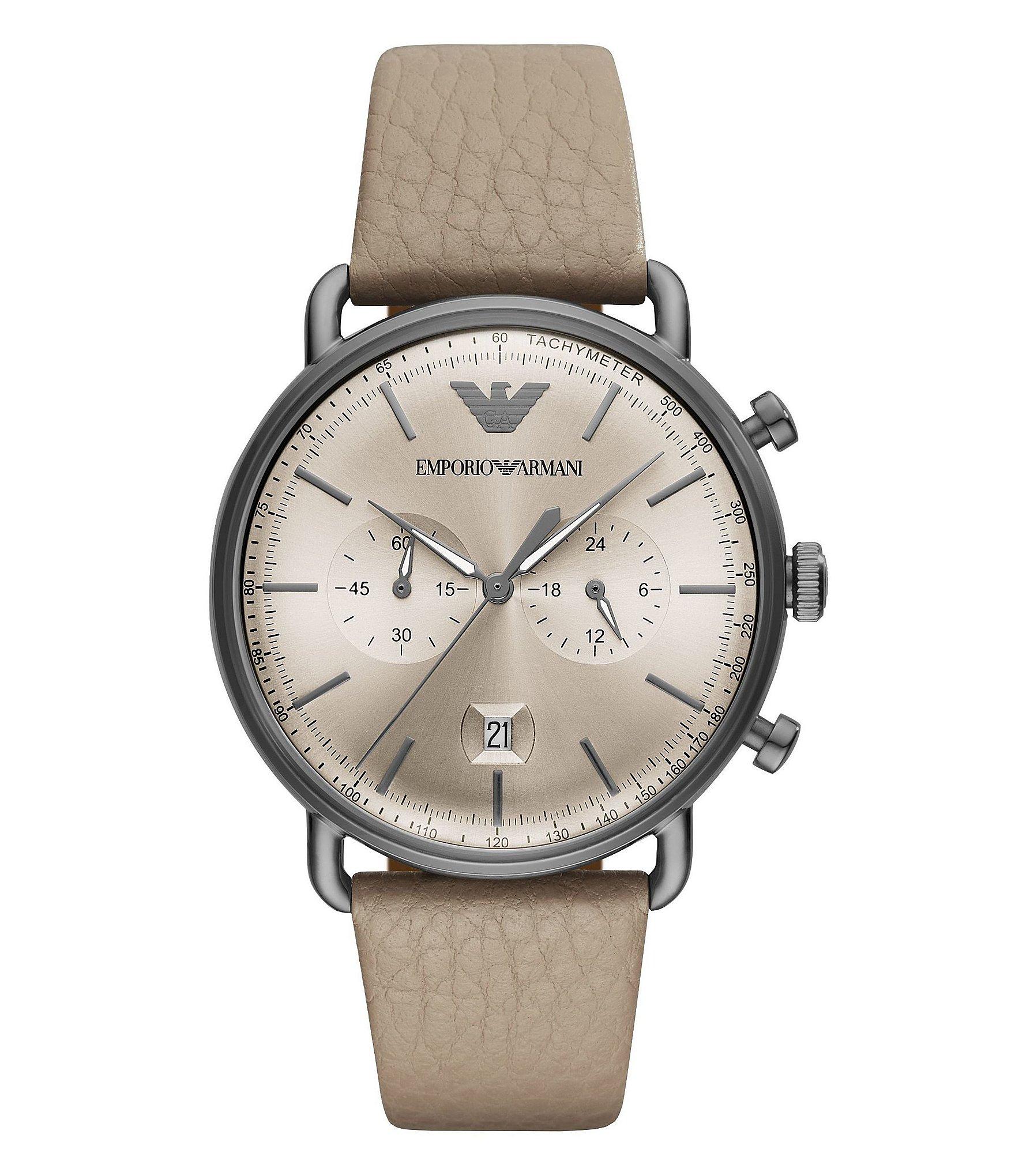 emporio armani taupe leather aviator men 39 s dress watch. Black Bedroom Furniture Sets. Home Design Ideas