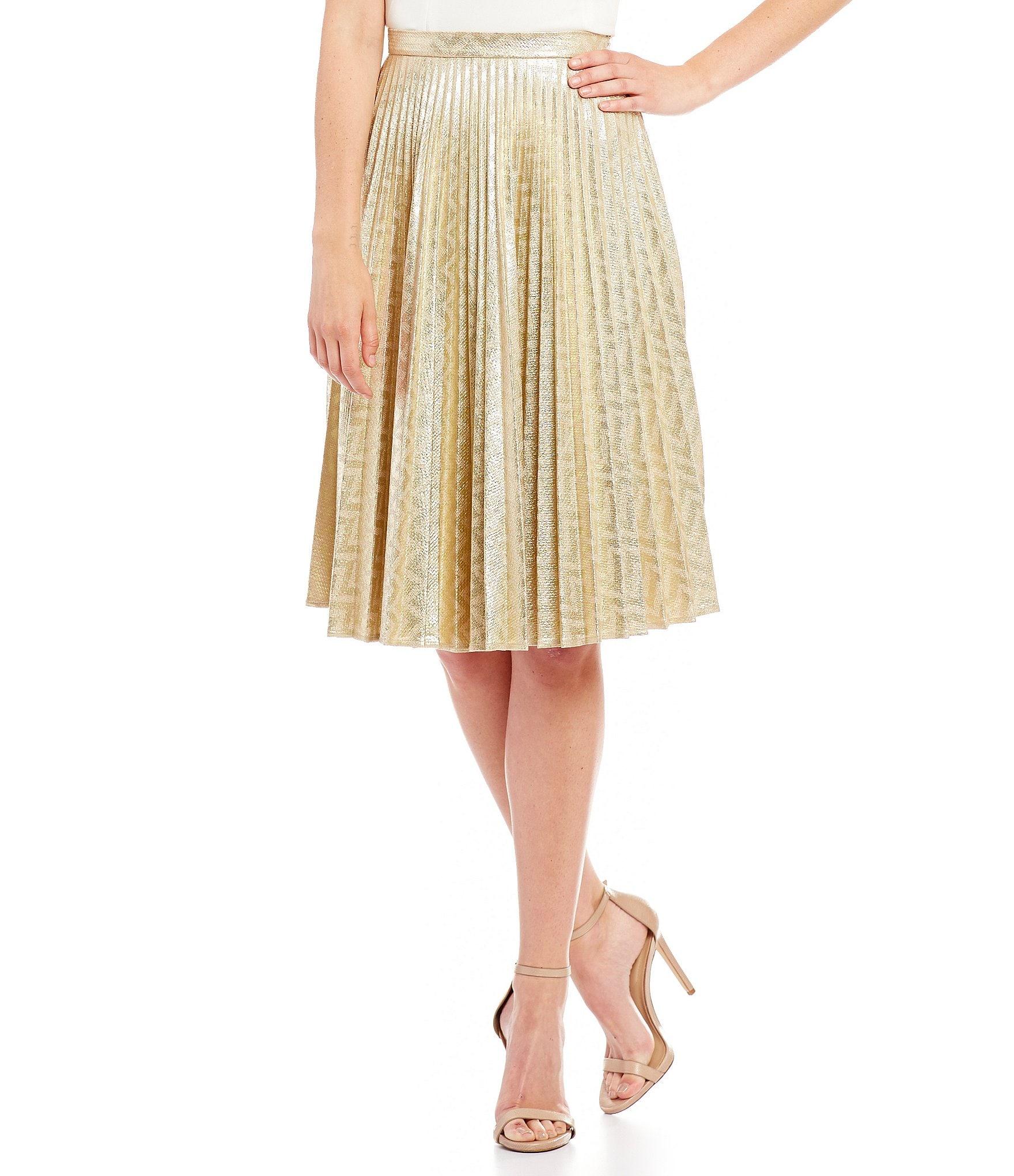 franco pleated metallic skirt dillards