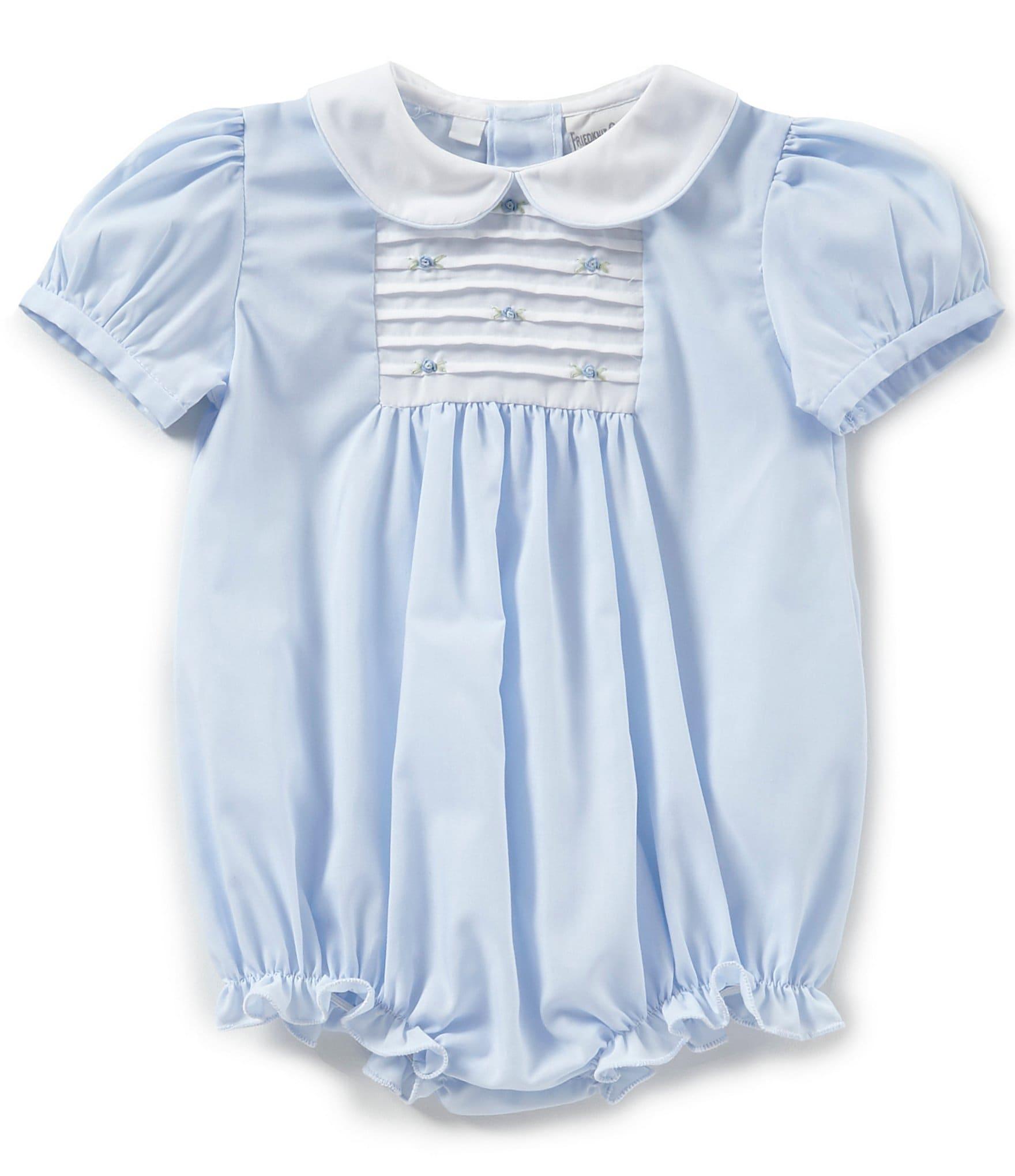 7f42d3bd93ab Friedknit Creations Baby Girls 3-9 Months Rosette Pintuck Romper ...