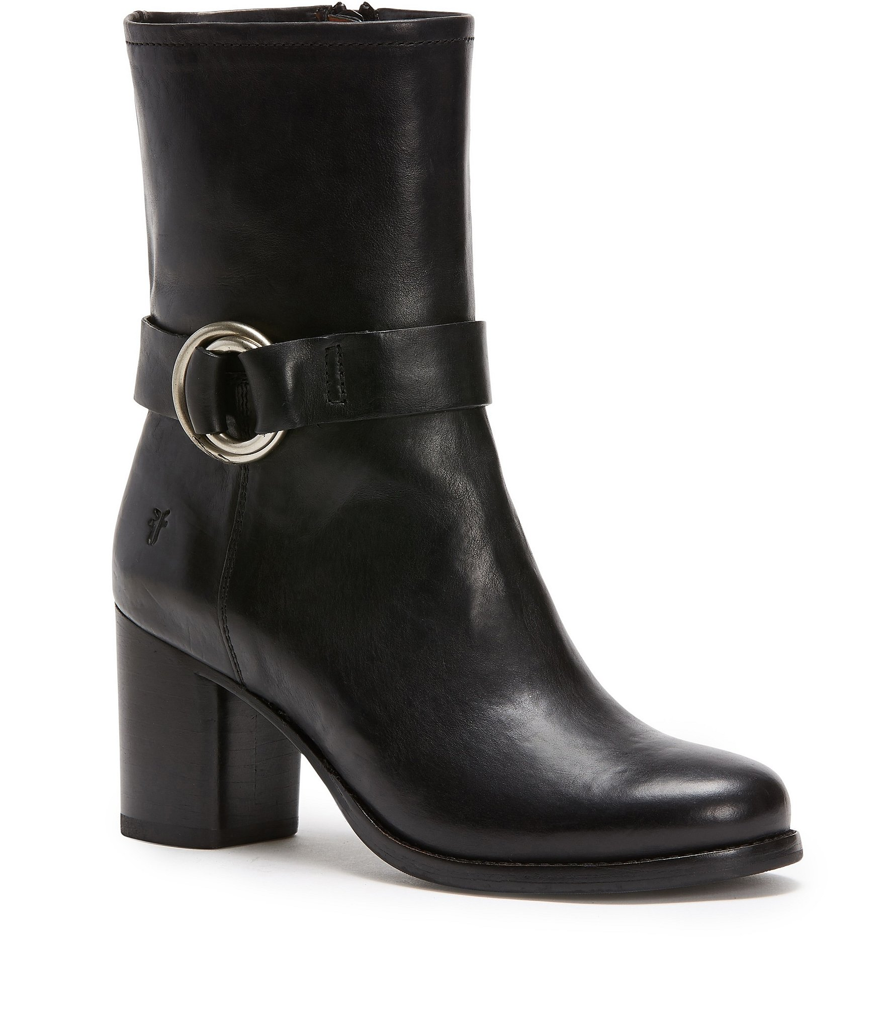 frye addie harness leather mid boots dillards