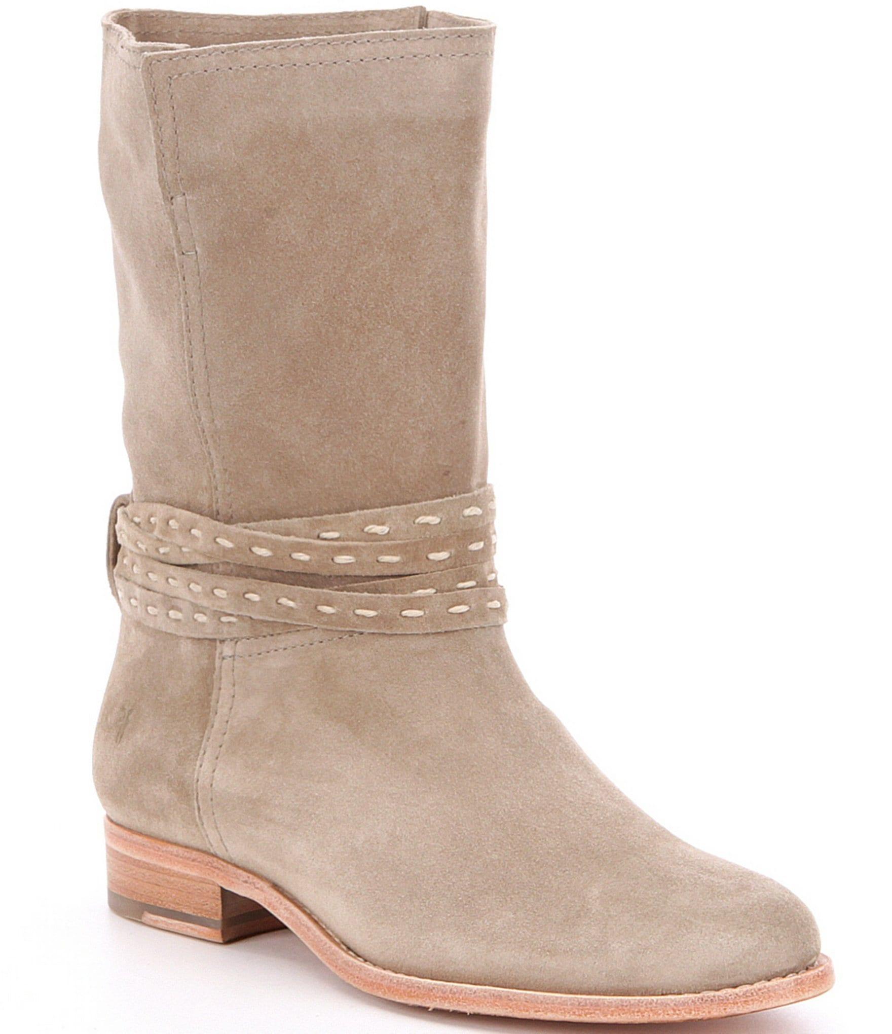frye cara pickstitch suede pull on mid boots dillards