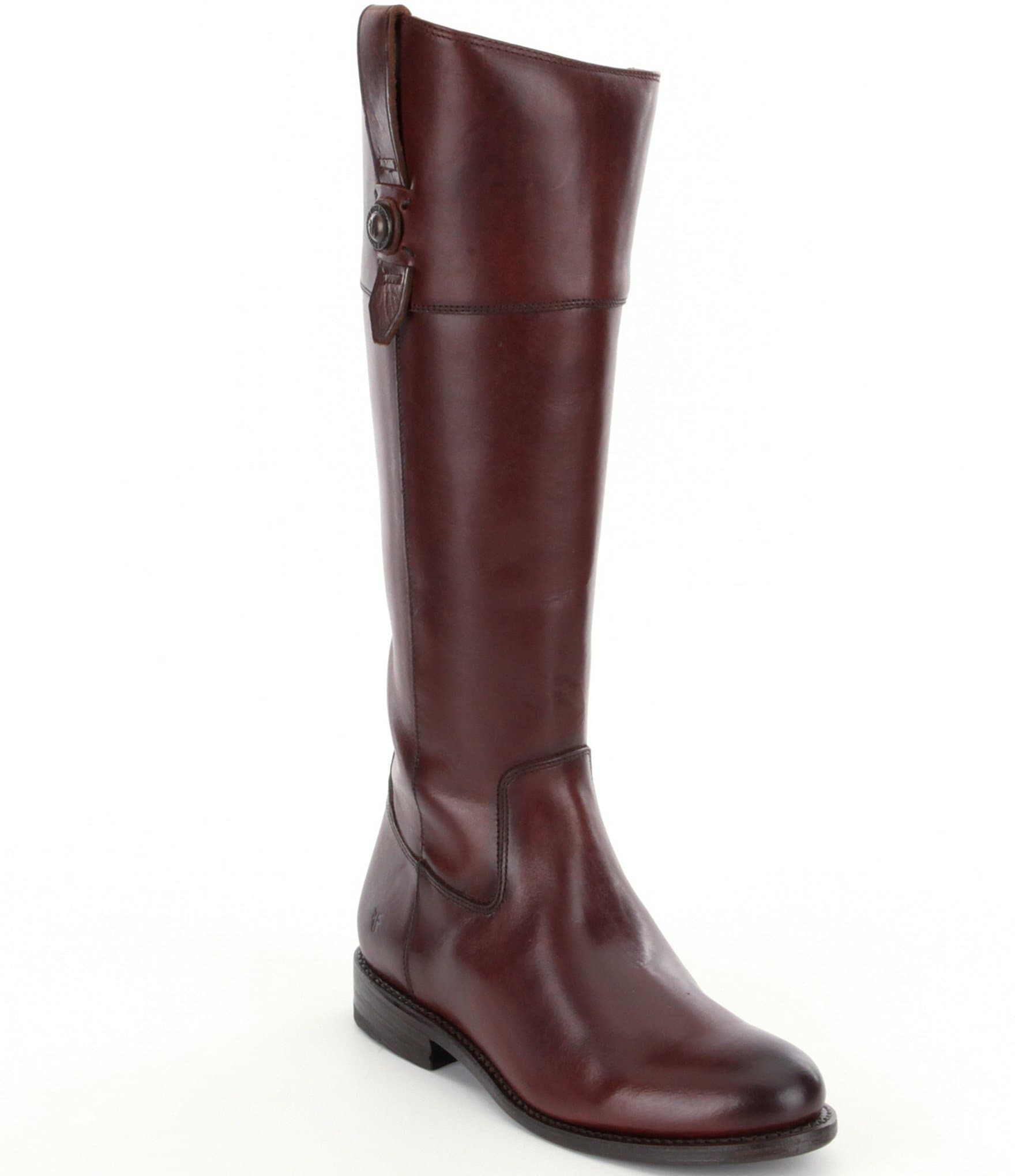 frye button leather zip boots