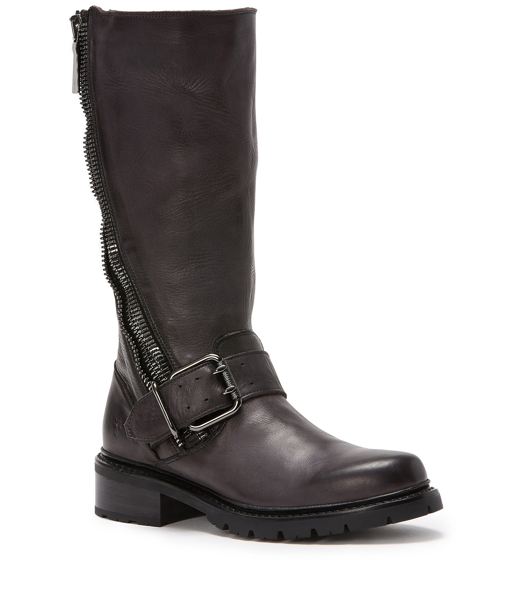 frye zip buckle harness block heel boots