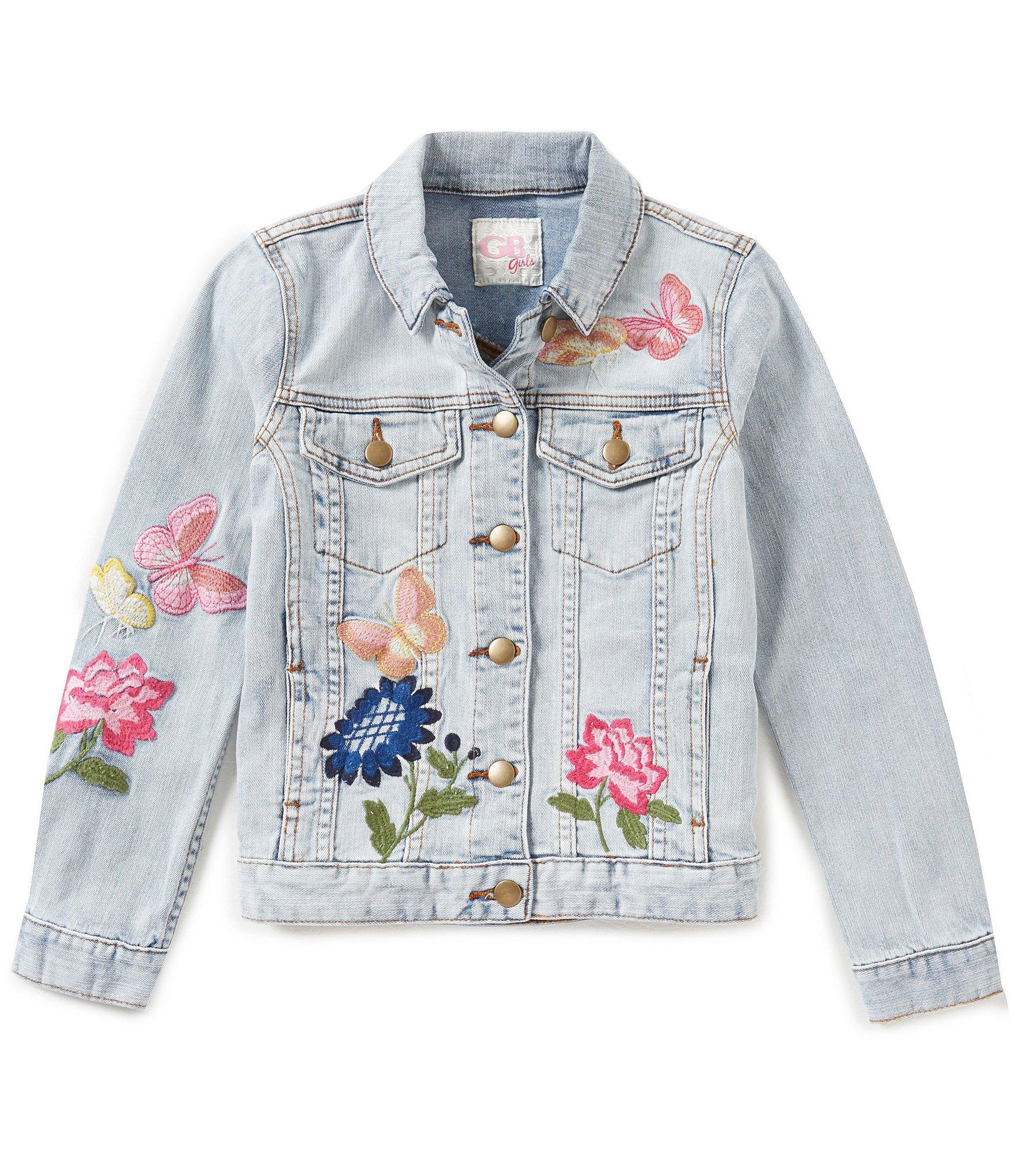 Gb girls big floral embroidered denim jacket