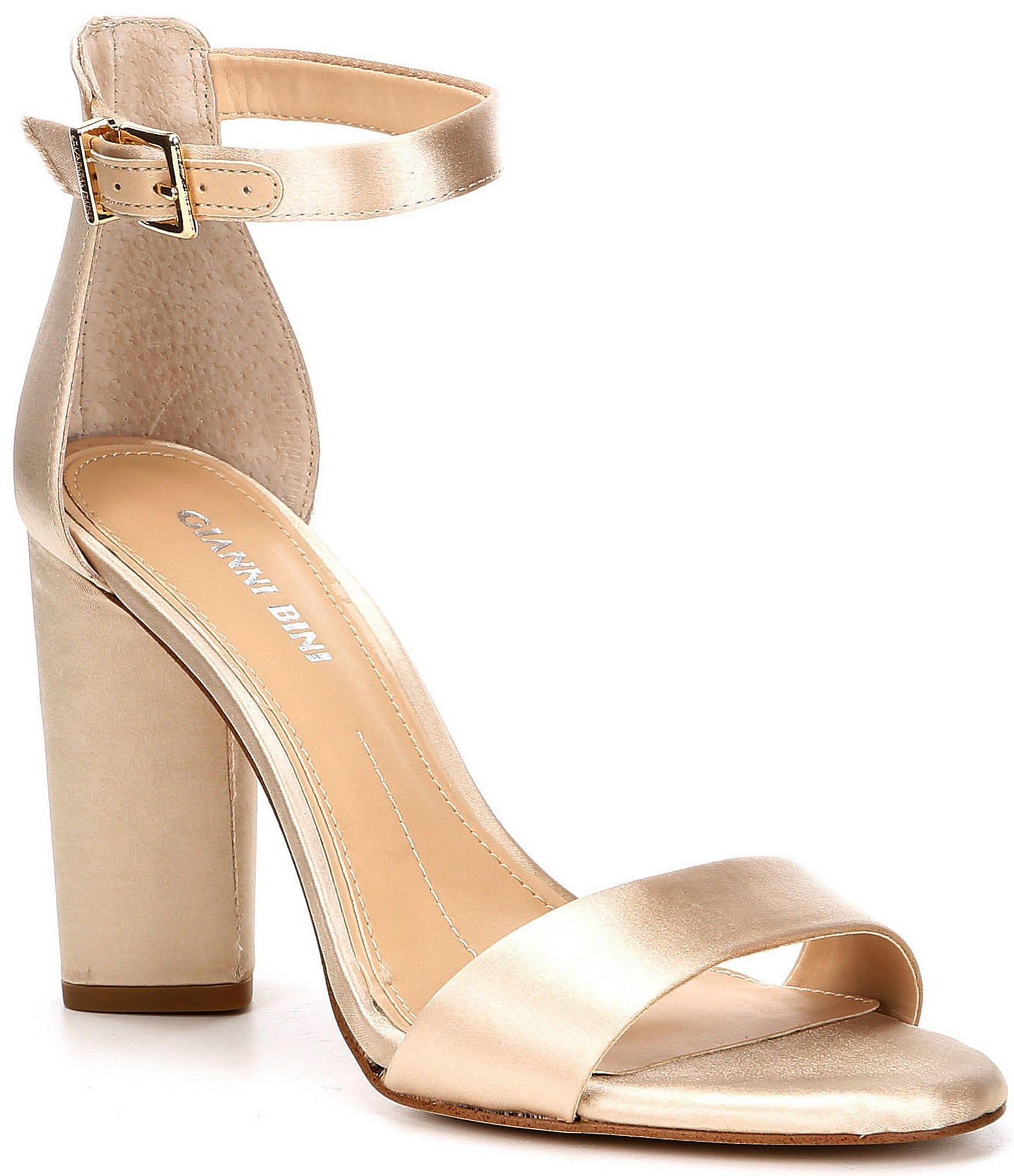 0df4858c7c9e9 Gianni Bini Joenah Satin Ankle Strap Block Heel Dress Sandals ...