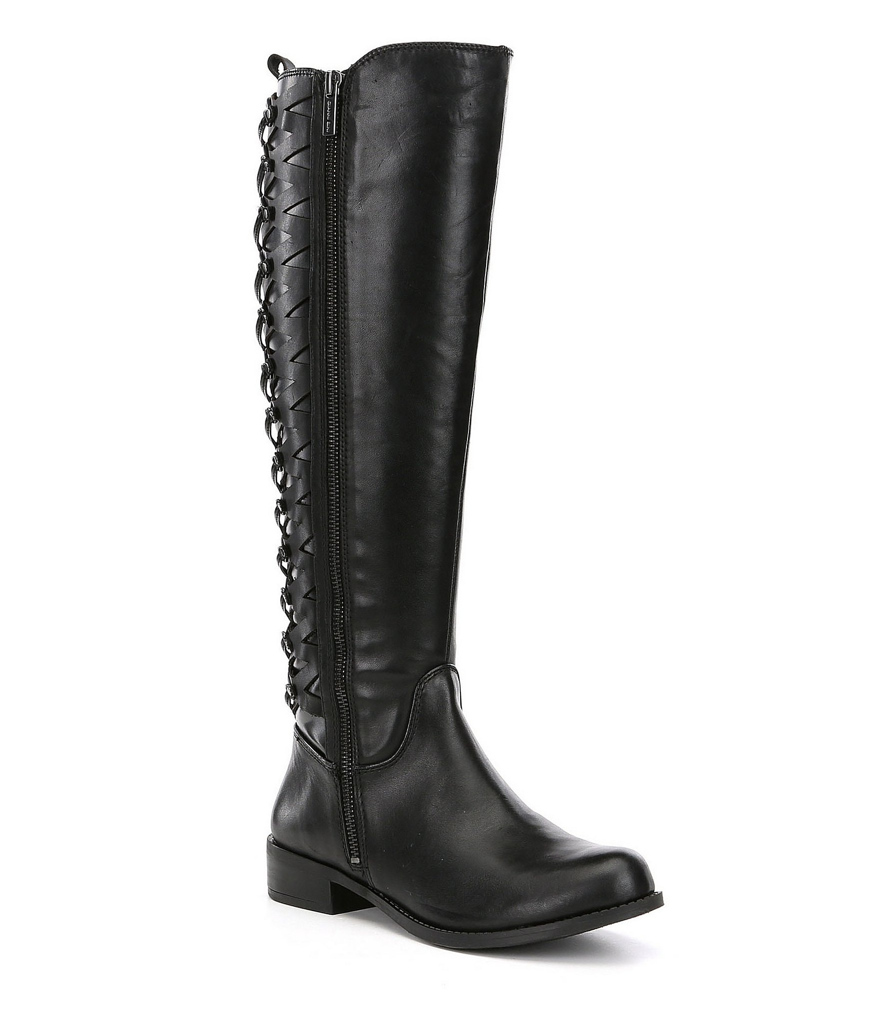 gianni bini picard wide calf leather lattice back detail