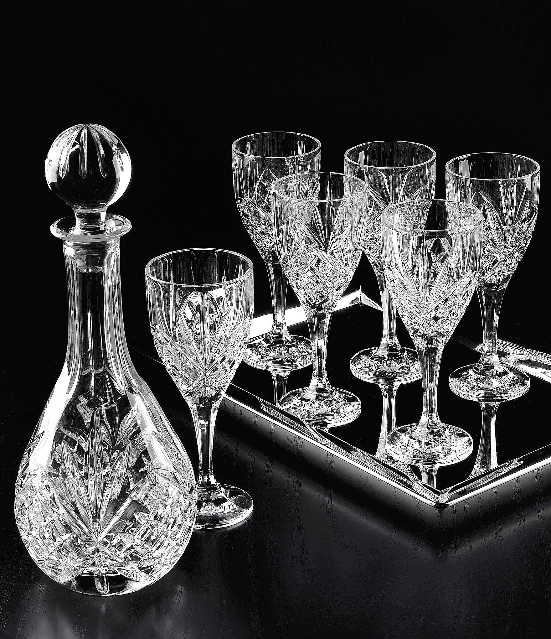 Godinger Dublin Diamond Cut Crystal 8 Piece Wine Set