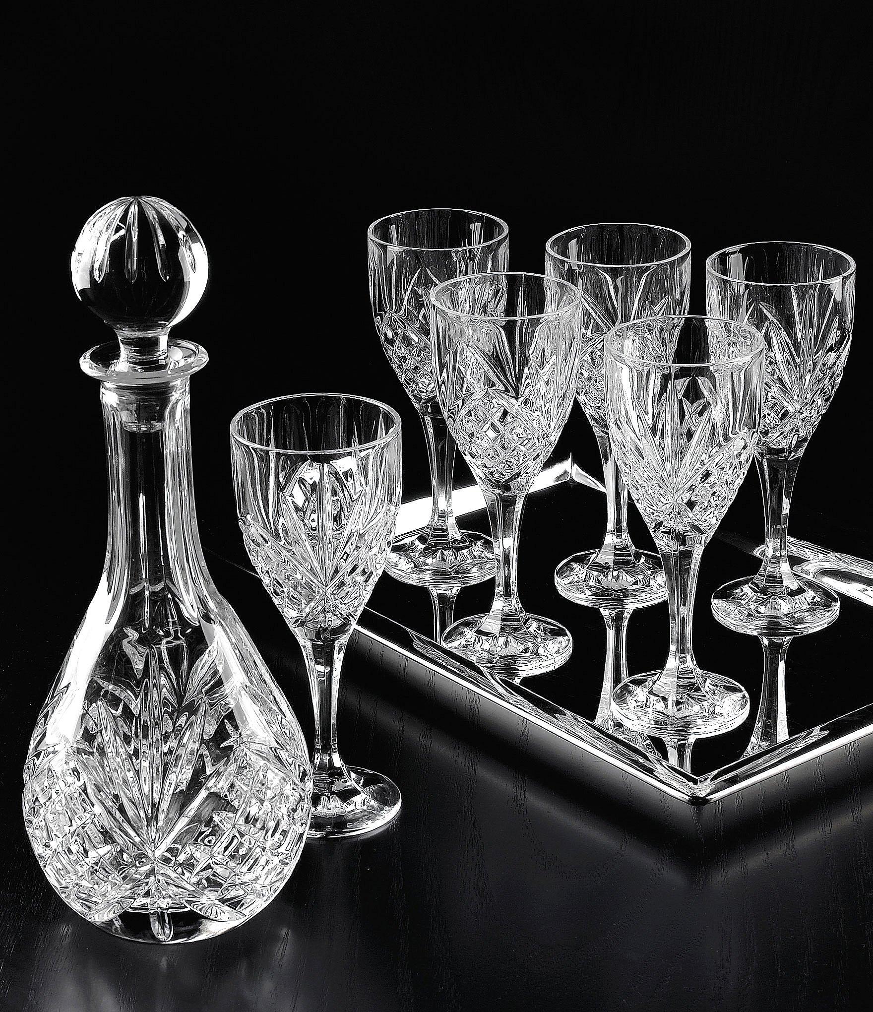 godinger dublin diamond cut crystal 8 piece wine set. Black Bedroom Furniture Sets. Home Design Ideas