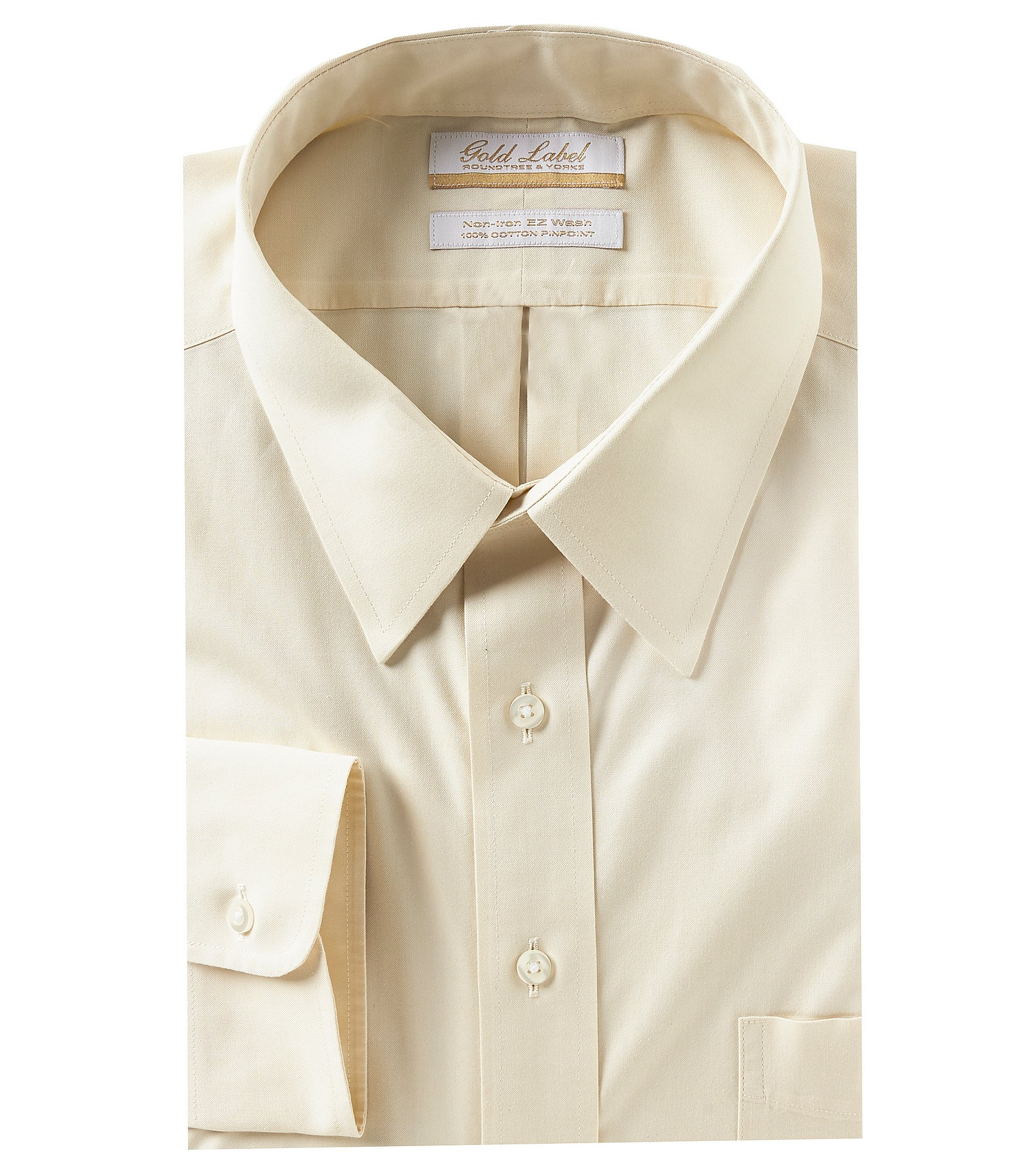 Gold Label Mens Big and Tall Non-Iron Pinpoint Dress Shirt Button-Down Collar