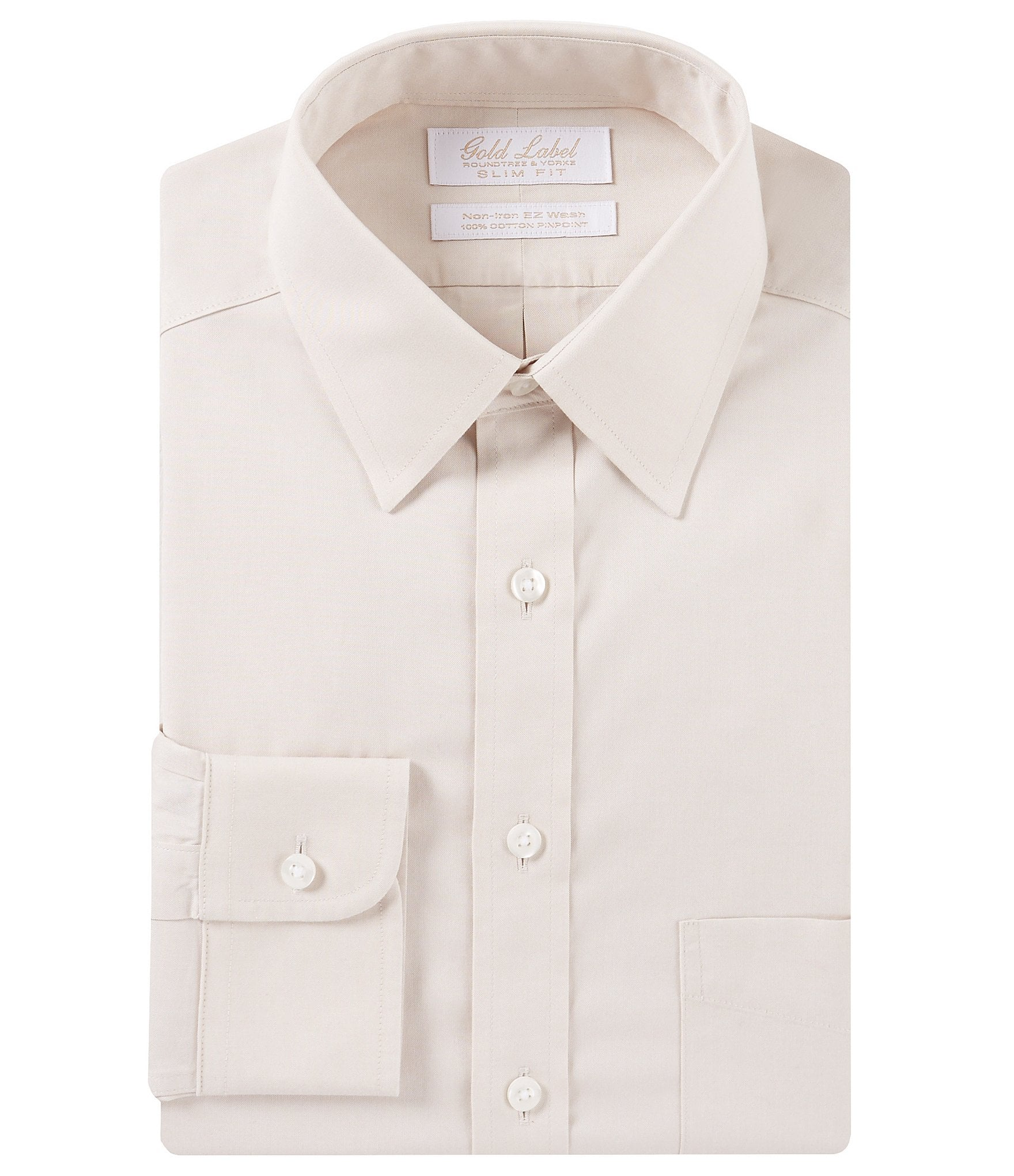 Gold label roundtree yorke non iron slim fit point for What is a non iron shirt