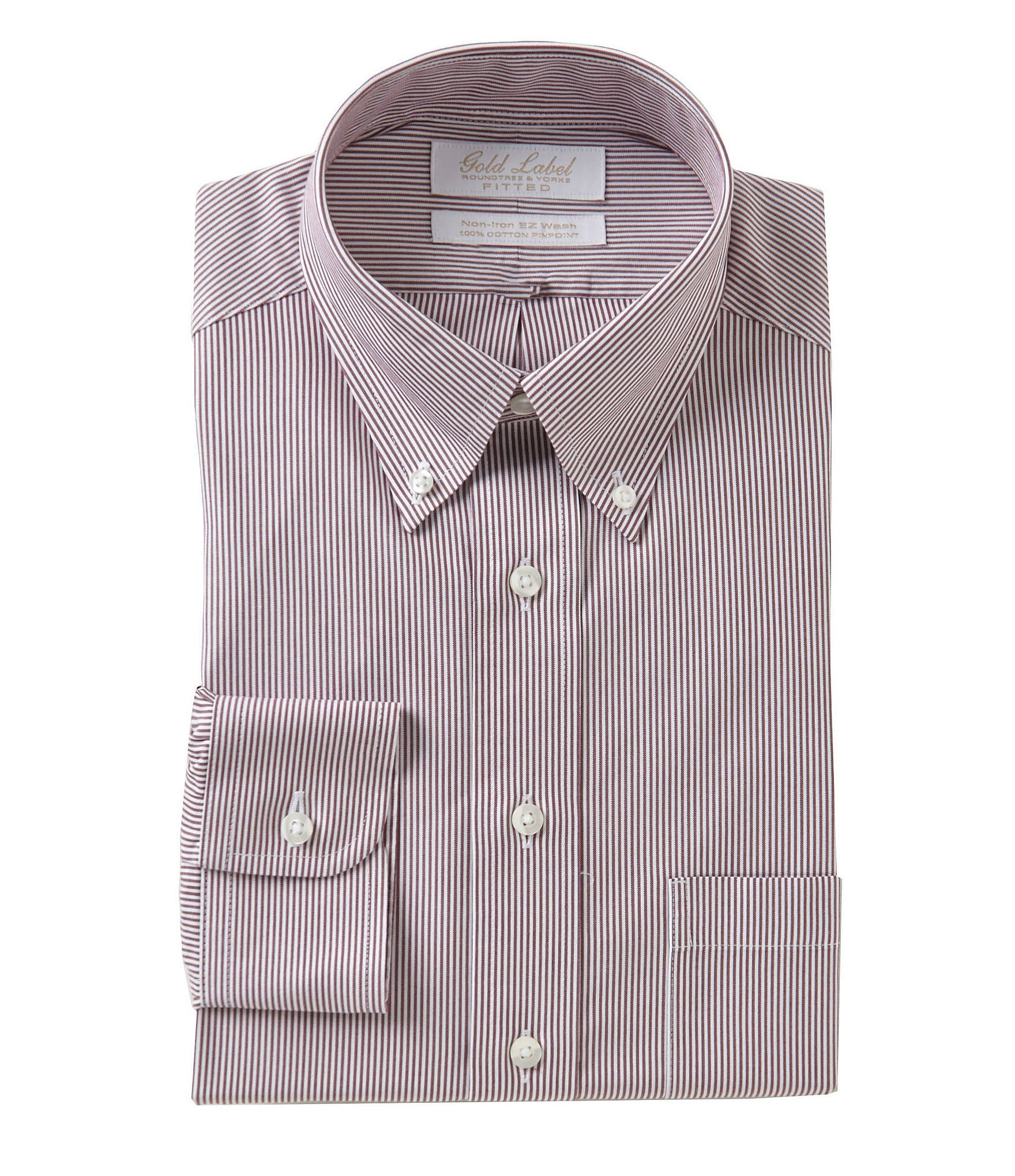 Gold label roundtree yorke non iron fitted button down for What is a non iron shirt
