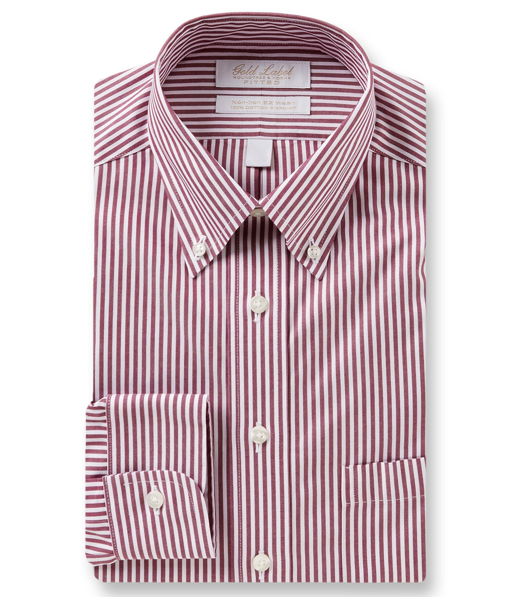 Gold label roundtree yorke non iron fitted classic fit for Red and white striped button down shirt