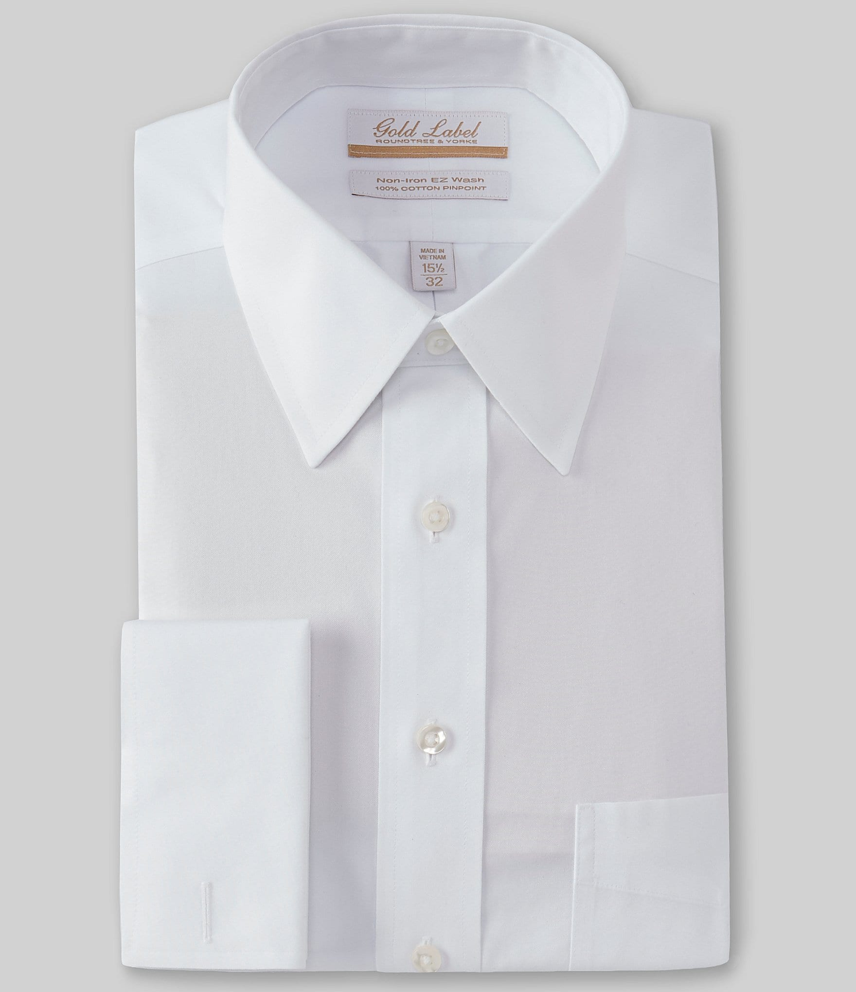 Gold label roundtree yorke non iron full fit point for Dress shirt french cuffs
