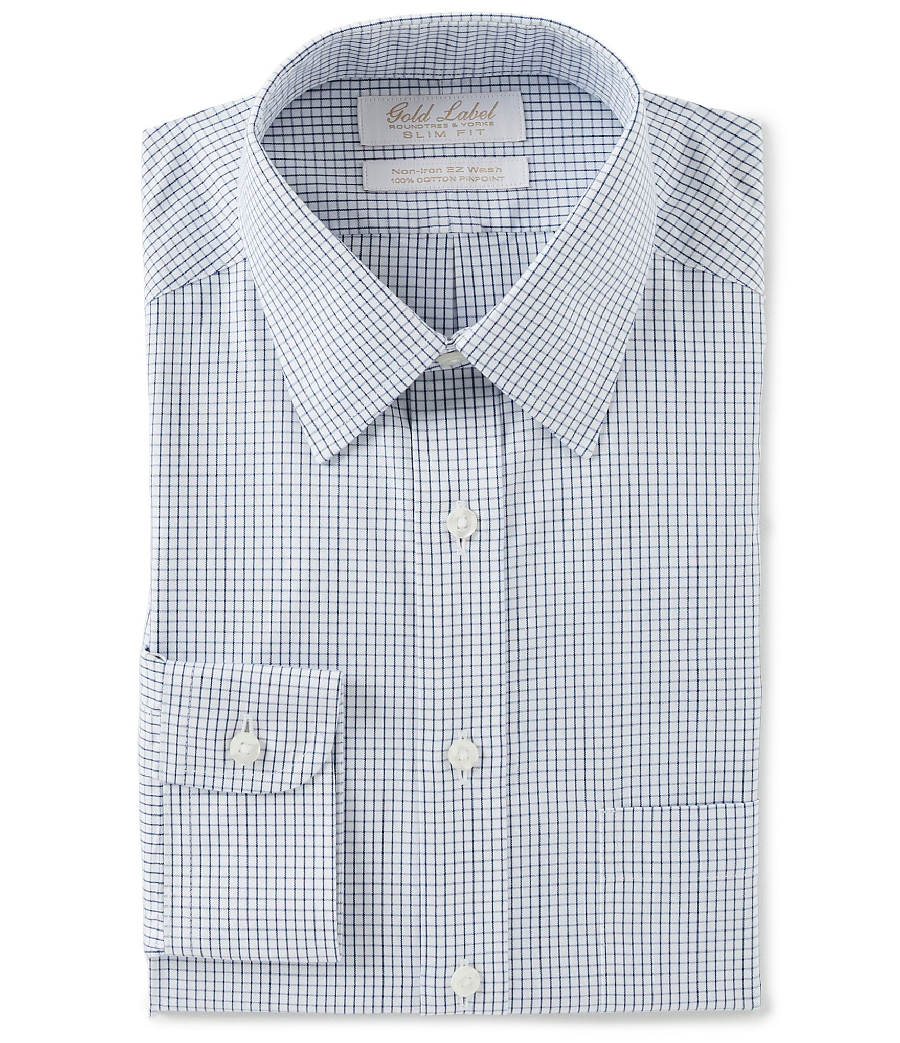 49604733ed7e Gold Label Roundtree & Yorke Non-Iron Slim Fit Point Collar Grid Patterned  Dress Shirt | Dillard's