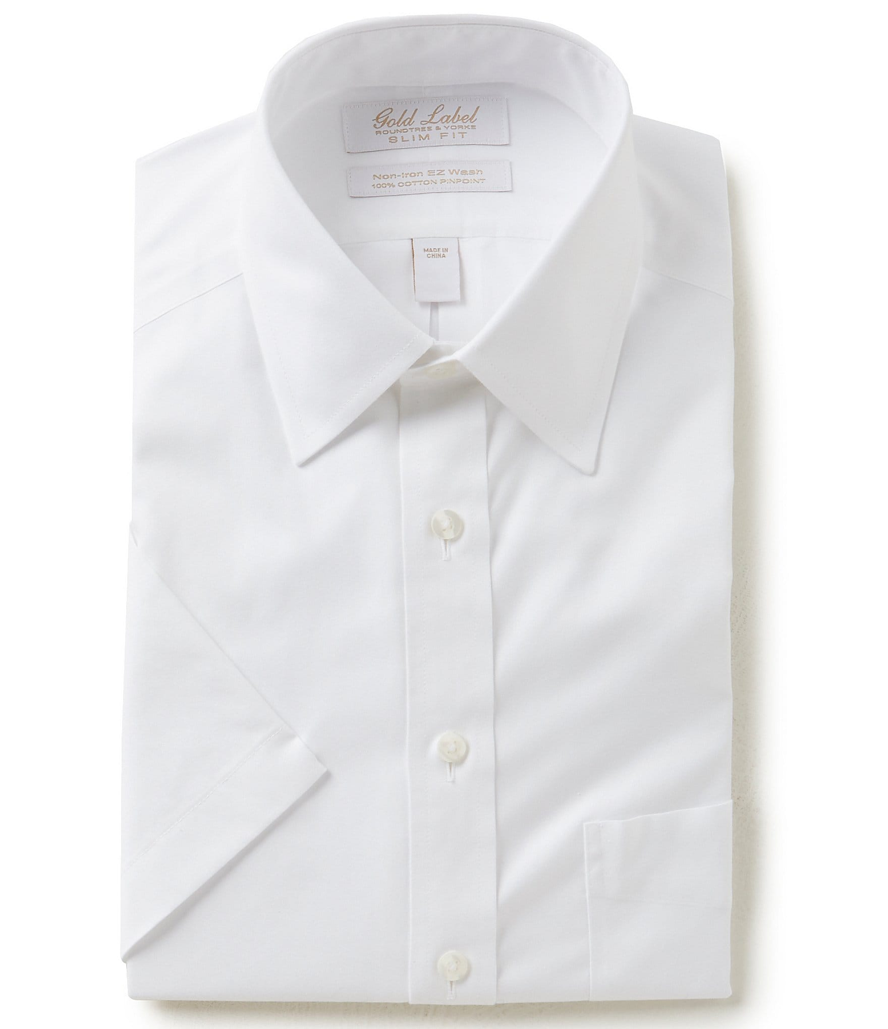 Gold label roundtree yorke non iron slim fit point for Mens short sleeve white dress shirt