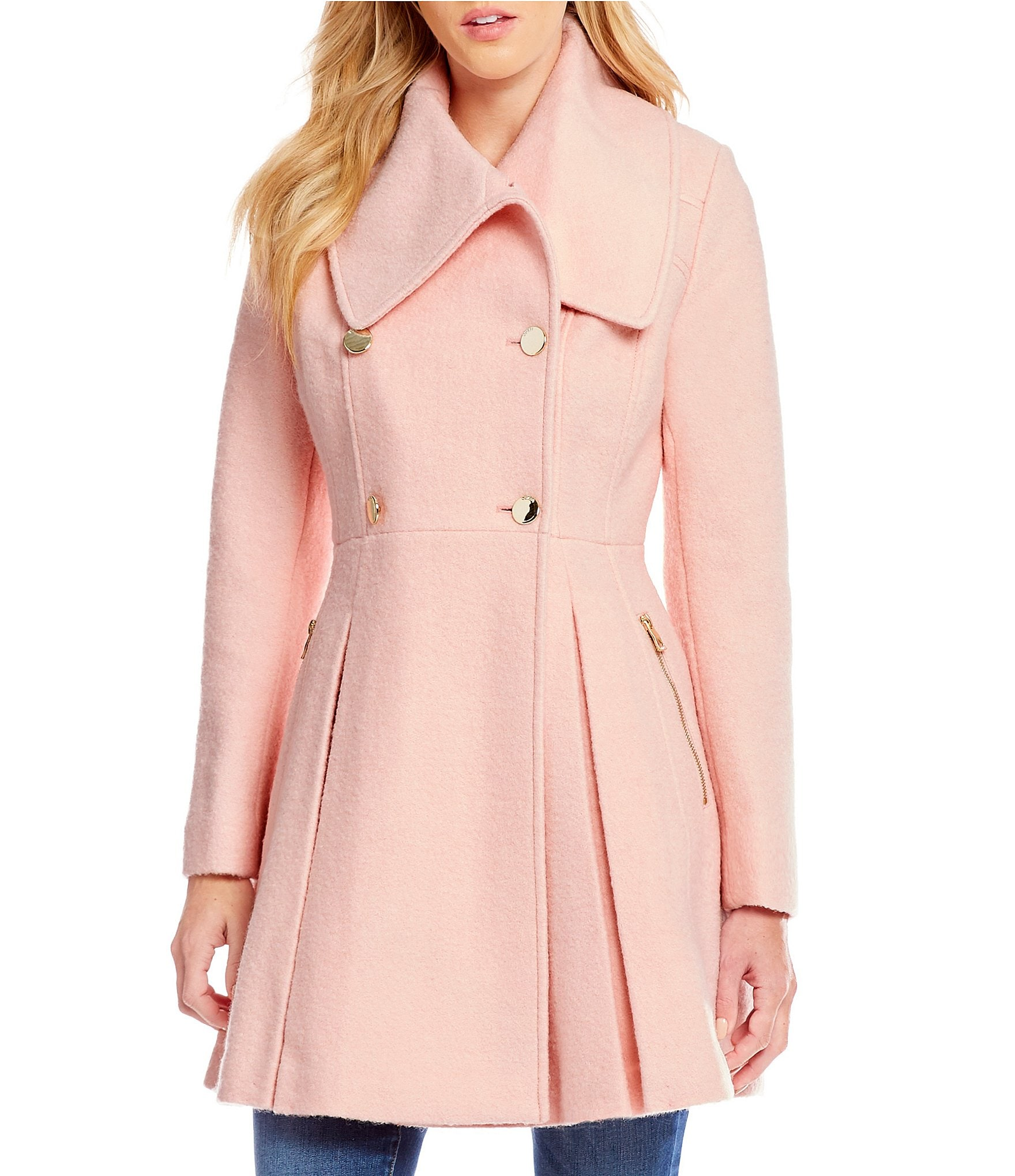 Guess Shawl Collar Double Breasted Fit-And-Flare Wool ...