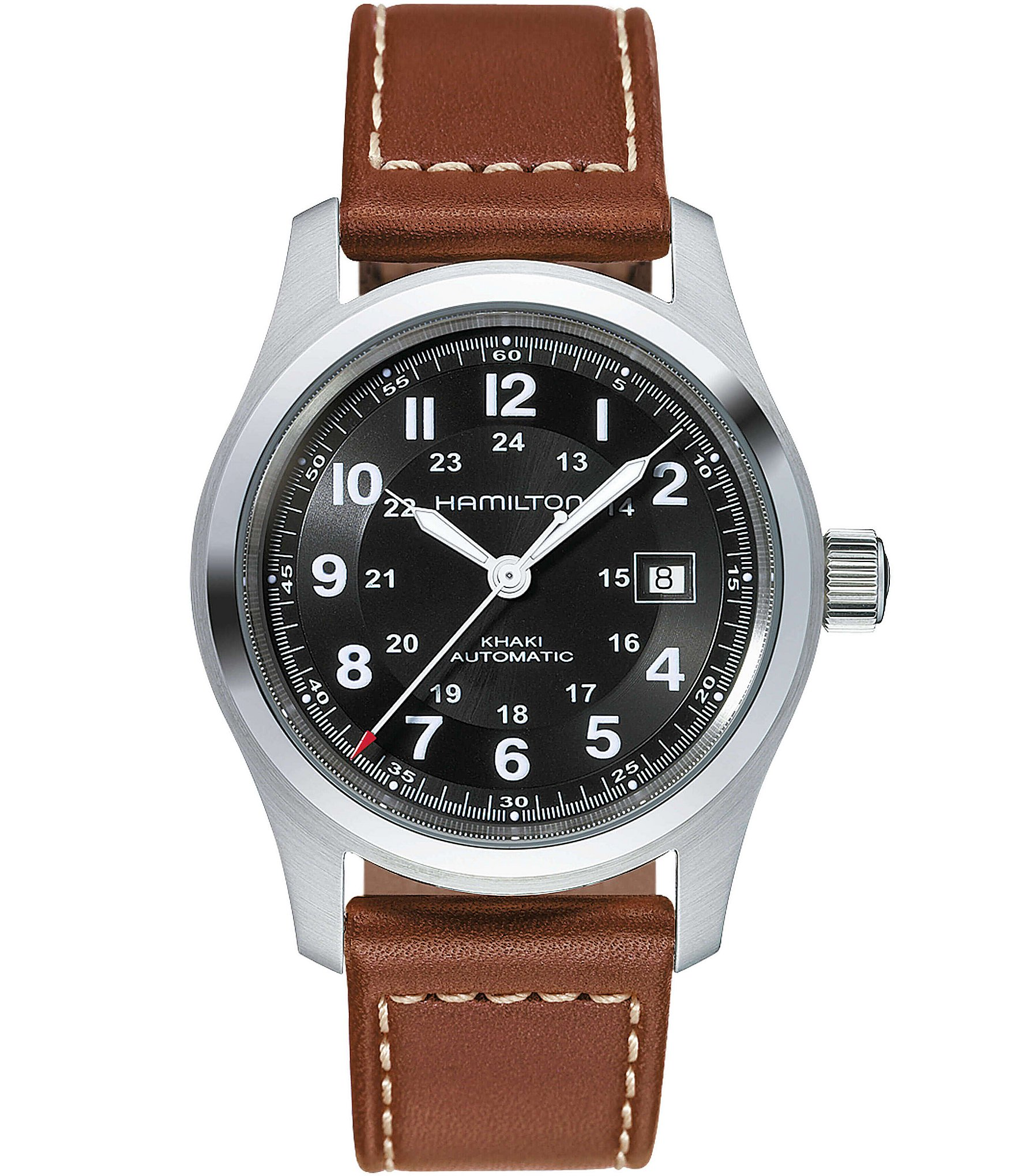 hamilton khaki field automatic brown leatherstrap watch