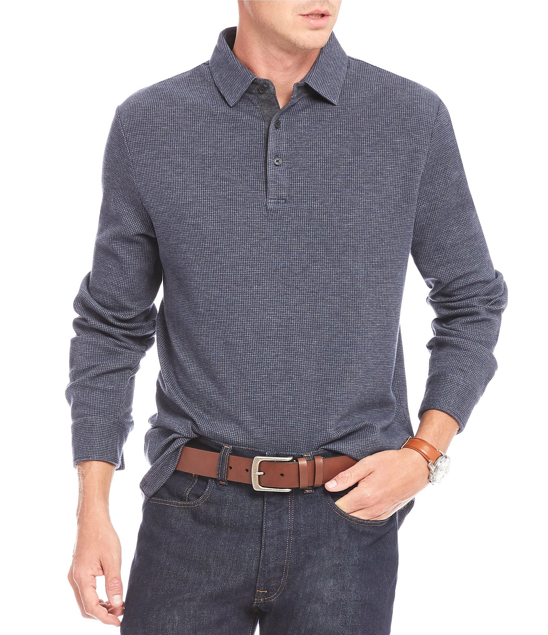 Hart Schaffner Marx Big Tall Jacquard Long Sleeve Polo