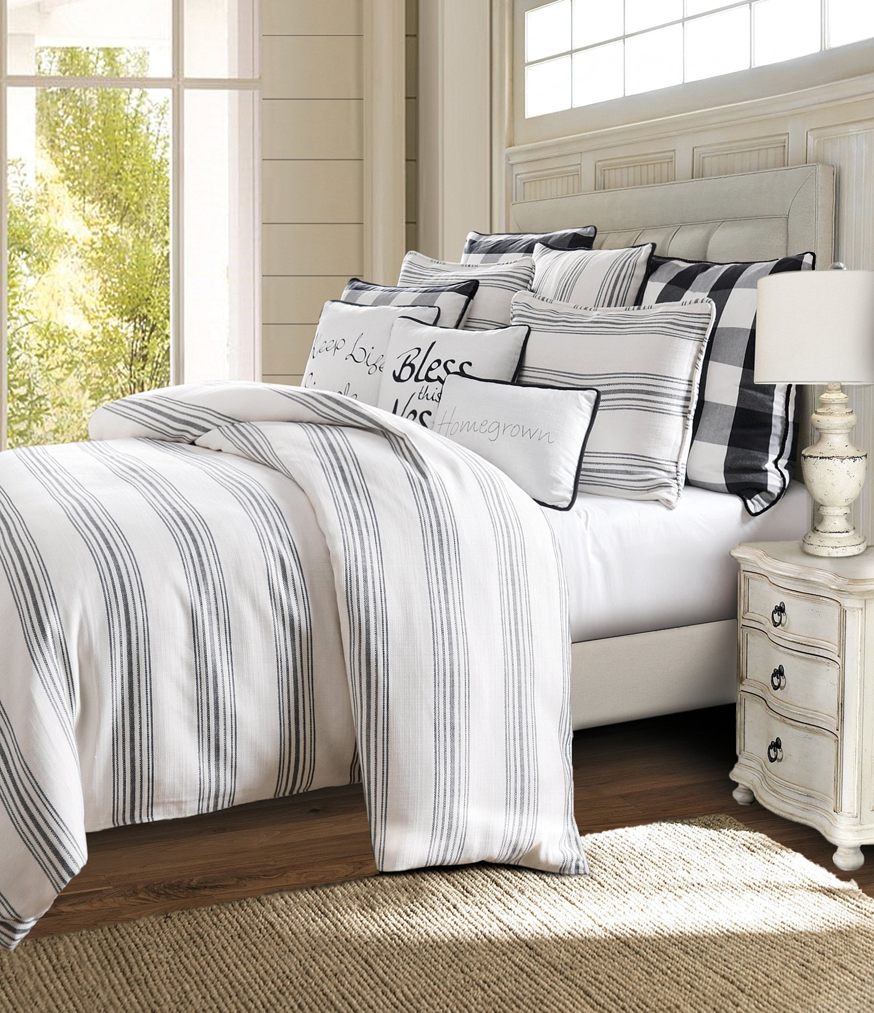 Hiend Accents Blackberry Vintage Striped Comforter Mini