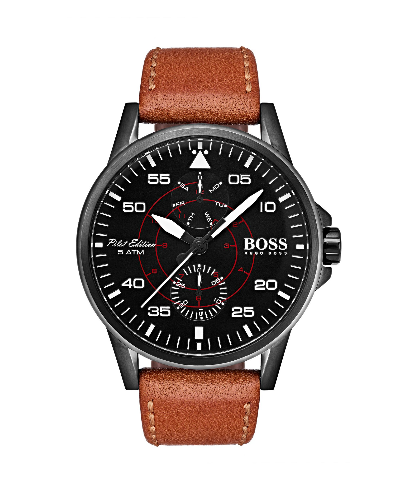 hugo boss aviator multifunction leather strap watch dillards. Black Bedroom Furniture Sets. Home Design Ideas