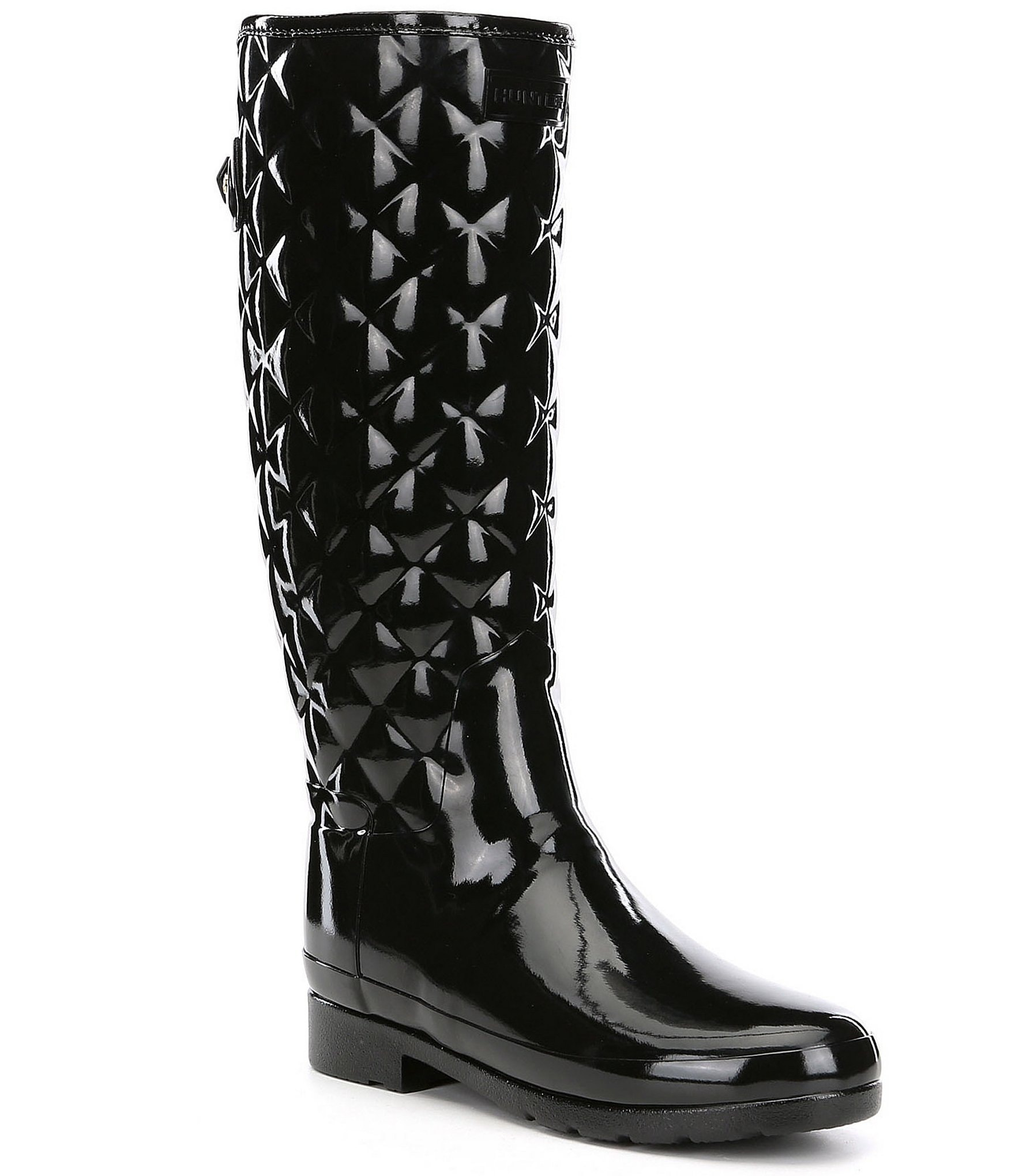99d917f9c9a6 Hunter Tall Refined Quilted Gloss Rain Boots