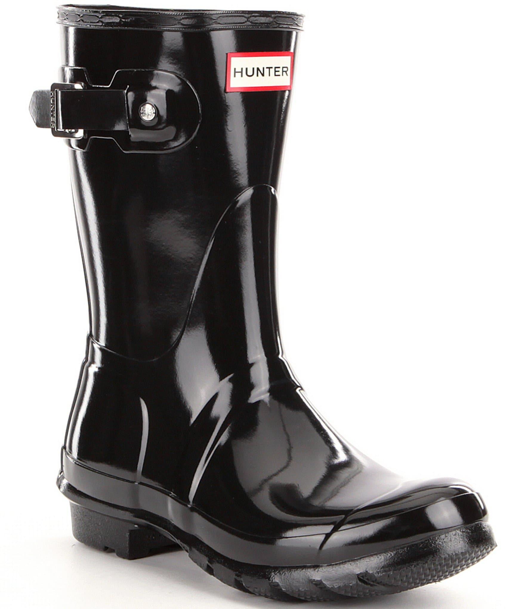 54ad3c7976f2 Hunter Women s Original Short Gloss Buckle Strap Rain Boots