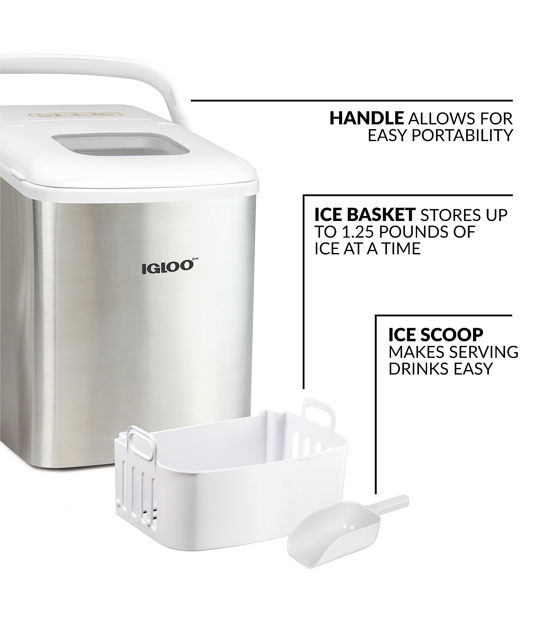 Igloo Automatic Self Cleaning Portable Electric Countertop Ice Maker Machine Stainless Steel Dillard S