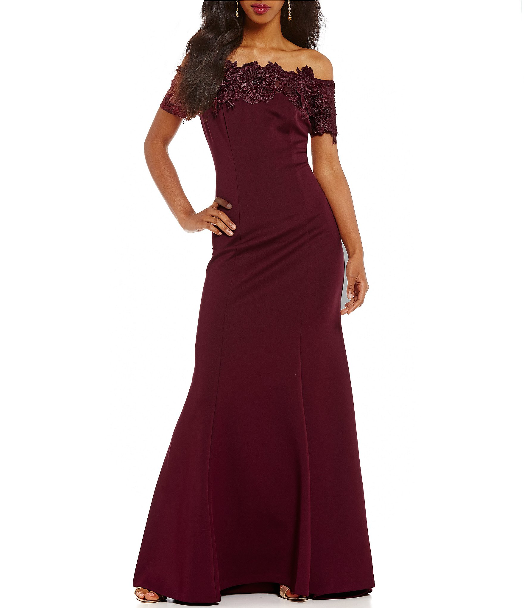 Ignite Evenings Lace Off-The-Shoulder Gown | Dillards